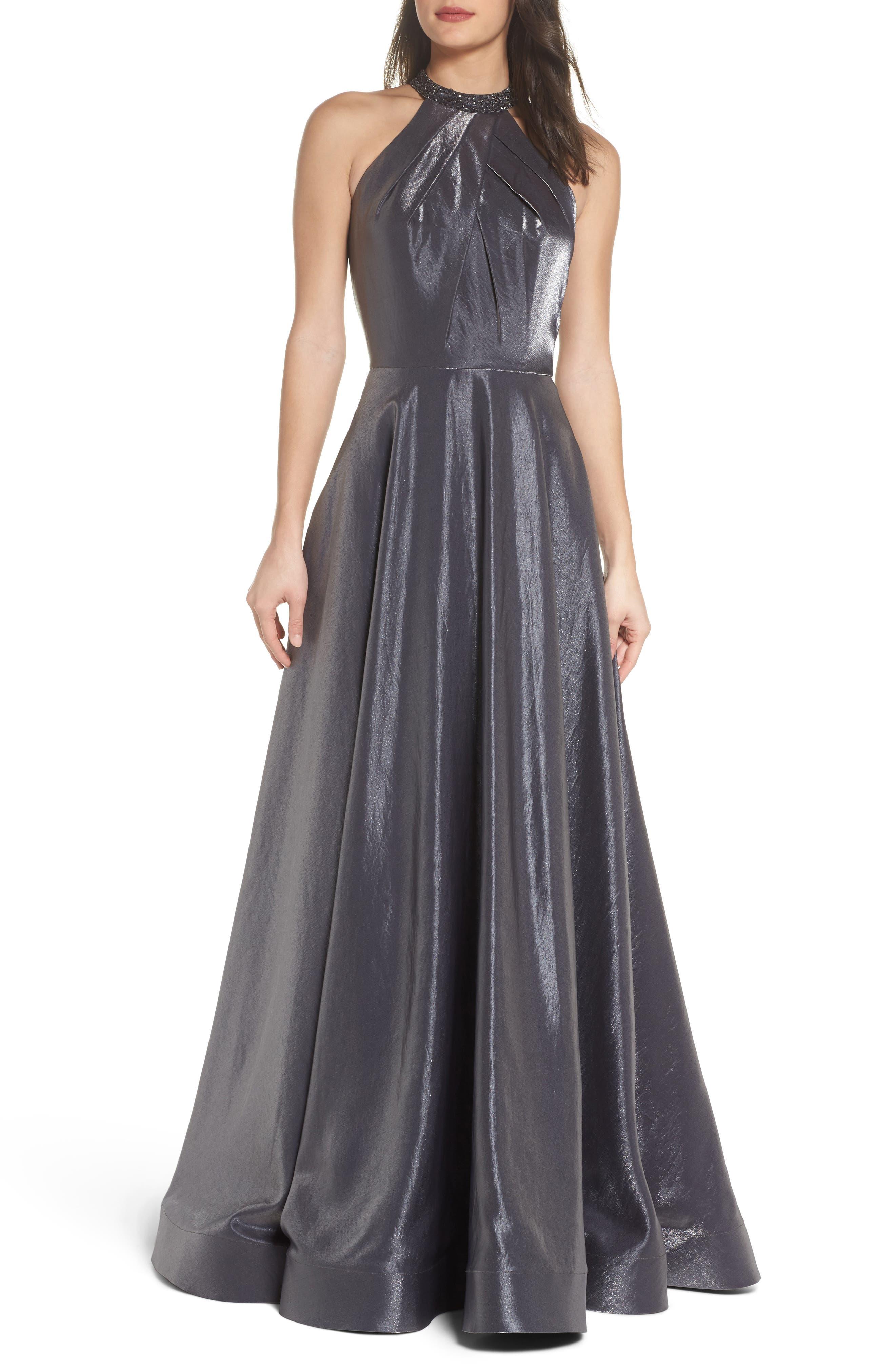Beaded Halter Neck A-Line Gown,                             Main thumbnail 1, color,                             PLATINUM