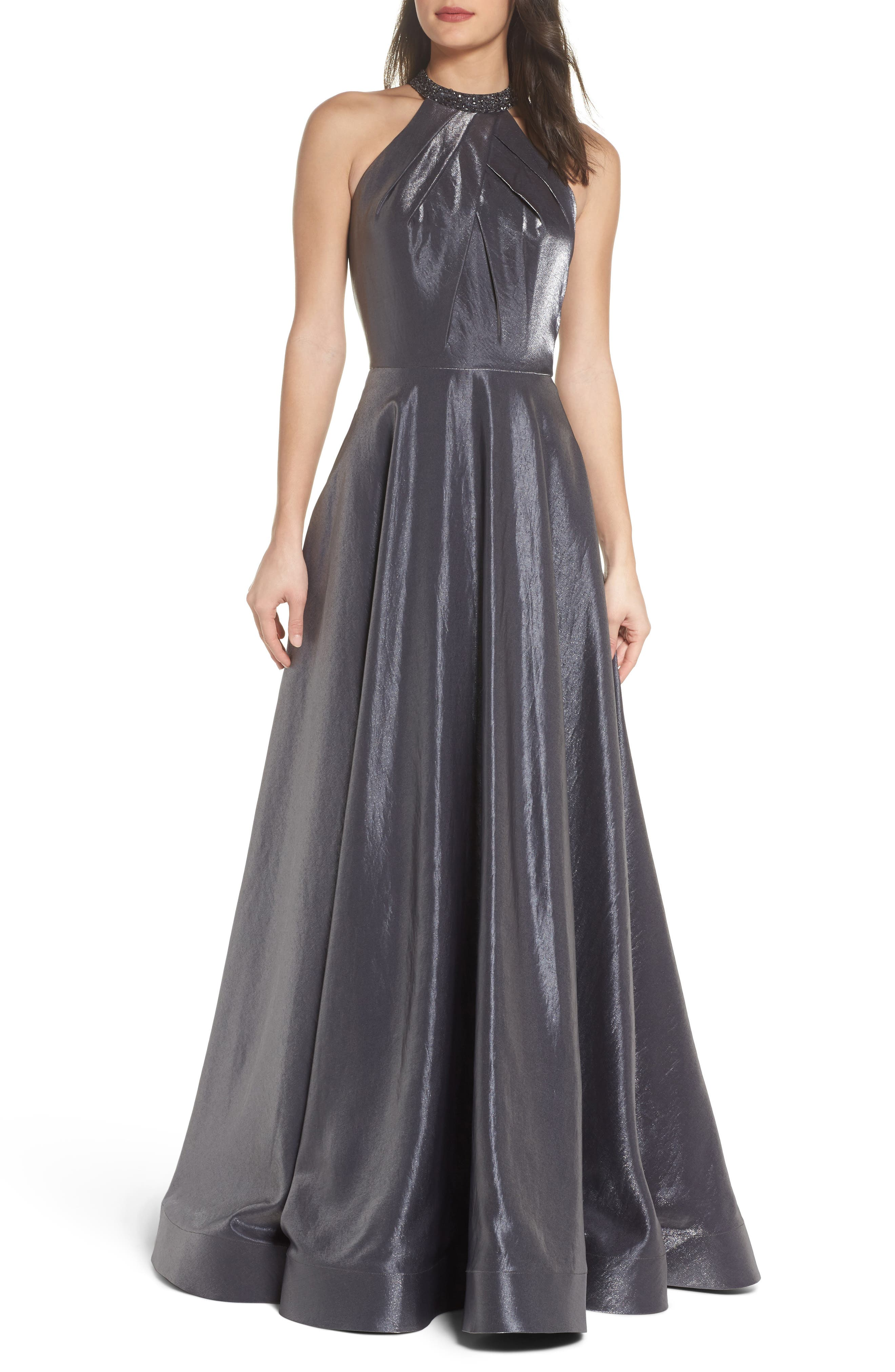 Beaded Halter Neck A-Line Gown,                         Main,                         color, PLATINUM