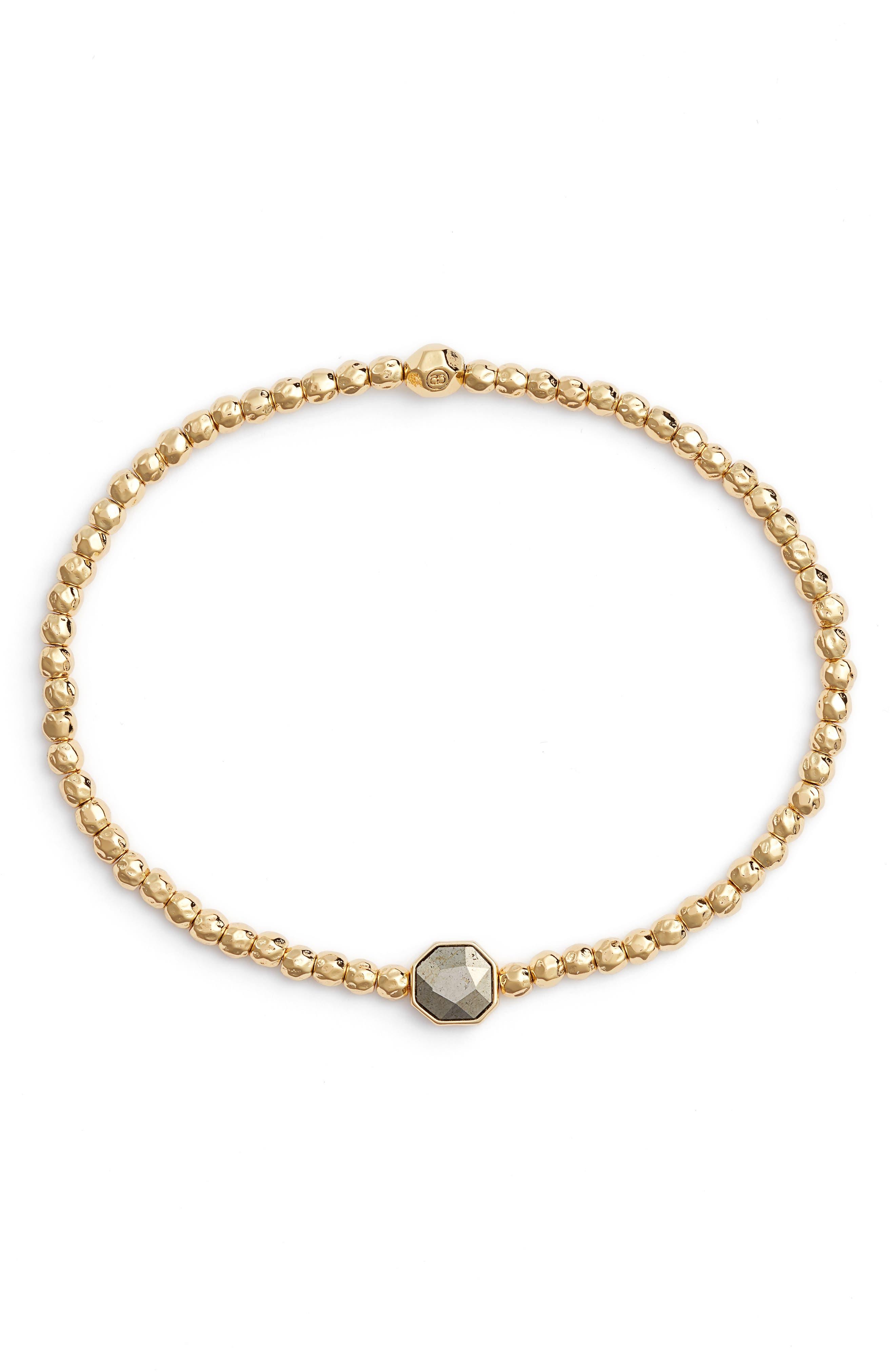 Power Gemstone Beaded Bracelet in Pyrite/ Gold