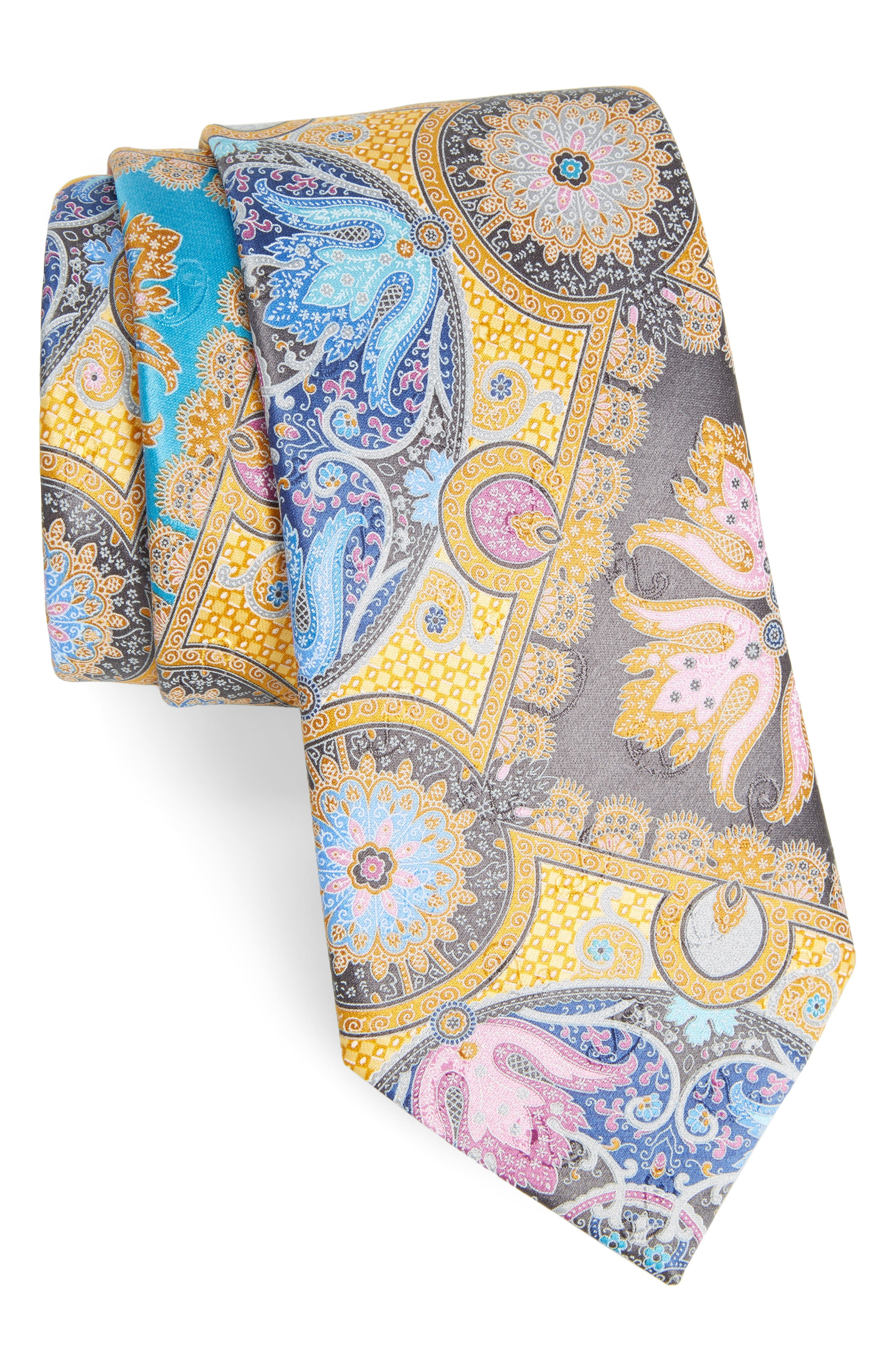 Quindici Paisley Silk Tie,                         Main,                         color, 728