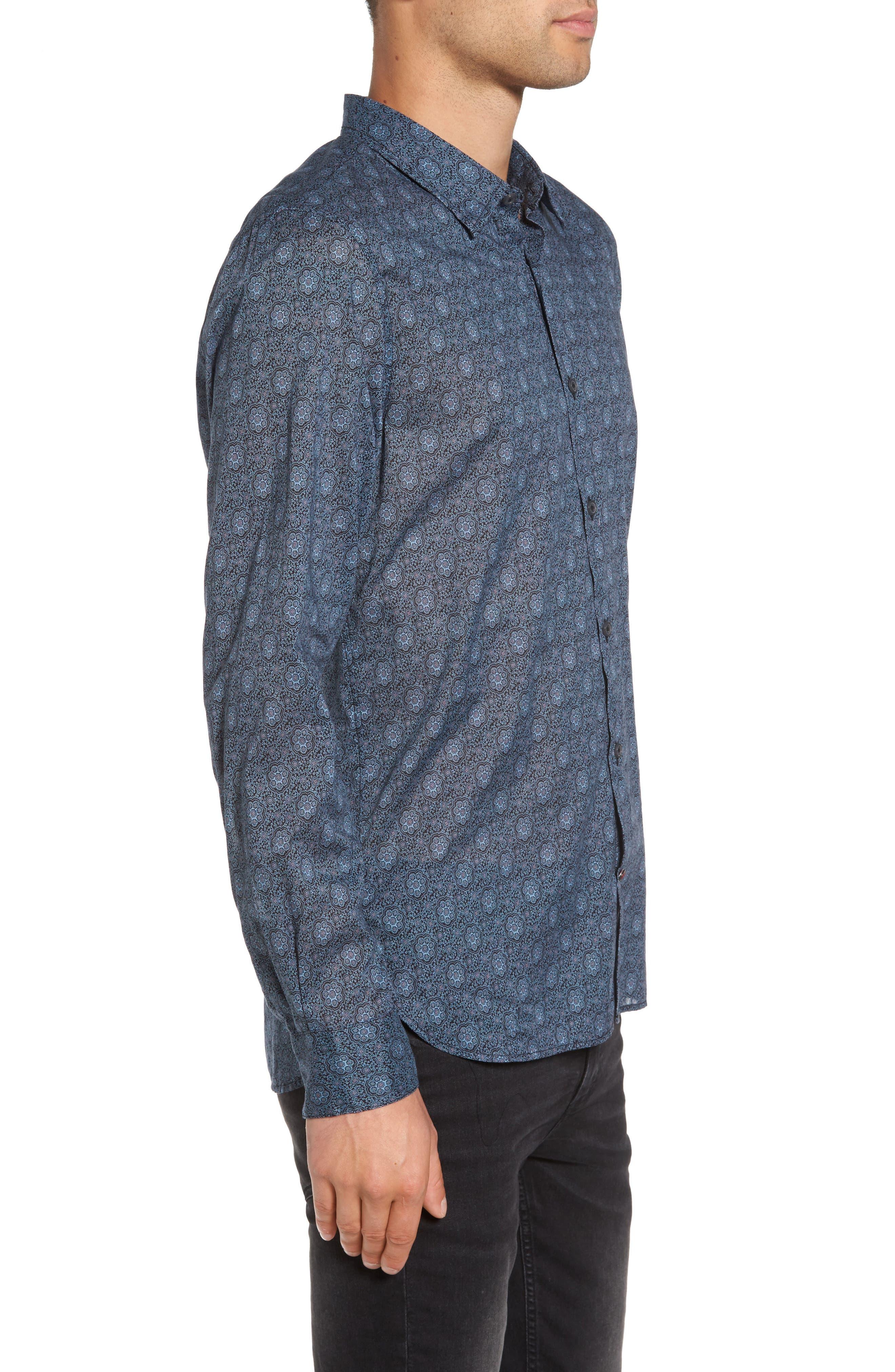 Slim Fit Mosaic Print Sport Shirt,                             Alternate thumbnail 3, color,                             414
