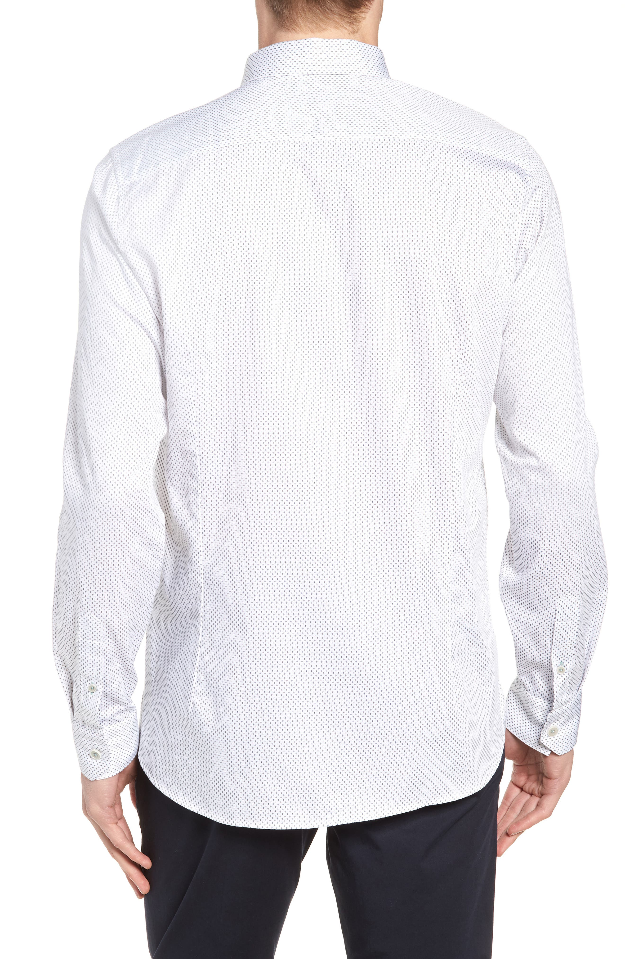 Boomtown Geo Print Sport Shirt,                             Alternate thumbnail 3, color,                             WHITE