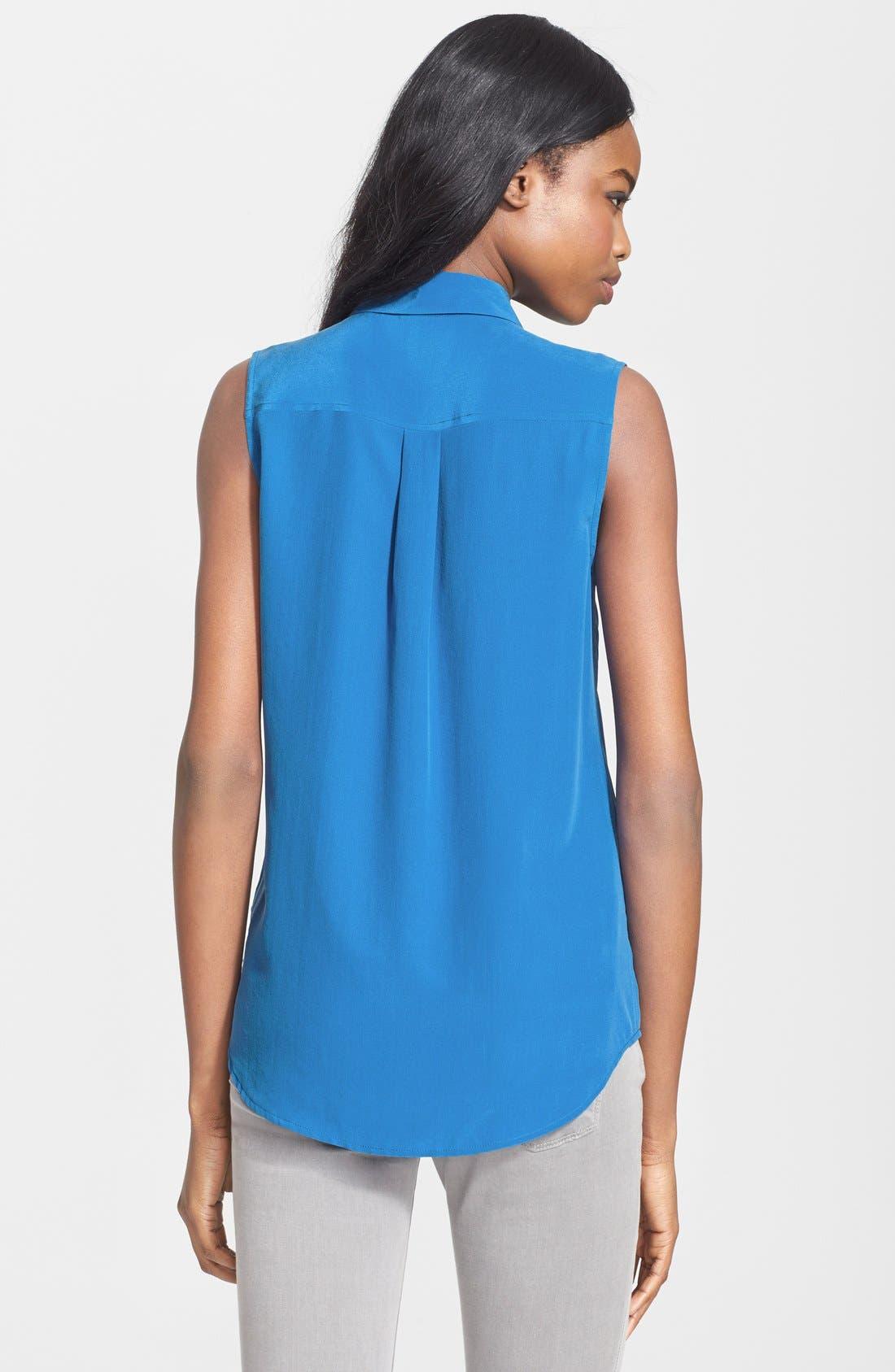 'Slim Signature' Sleeveless Silk Shirt,                             Alternate thumbnail 69, color,