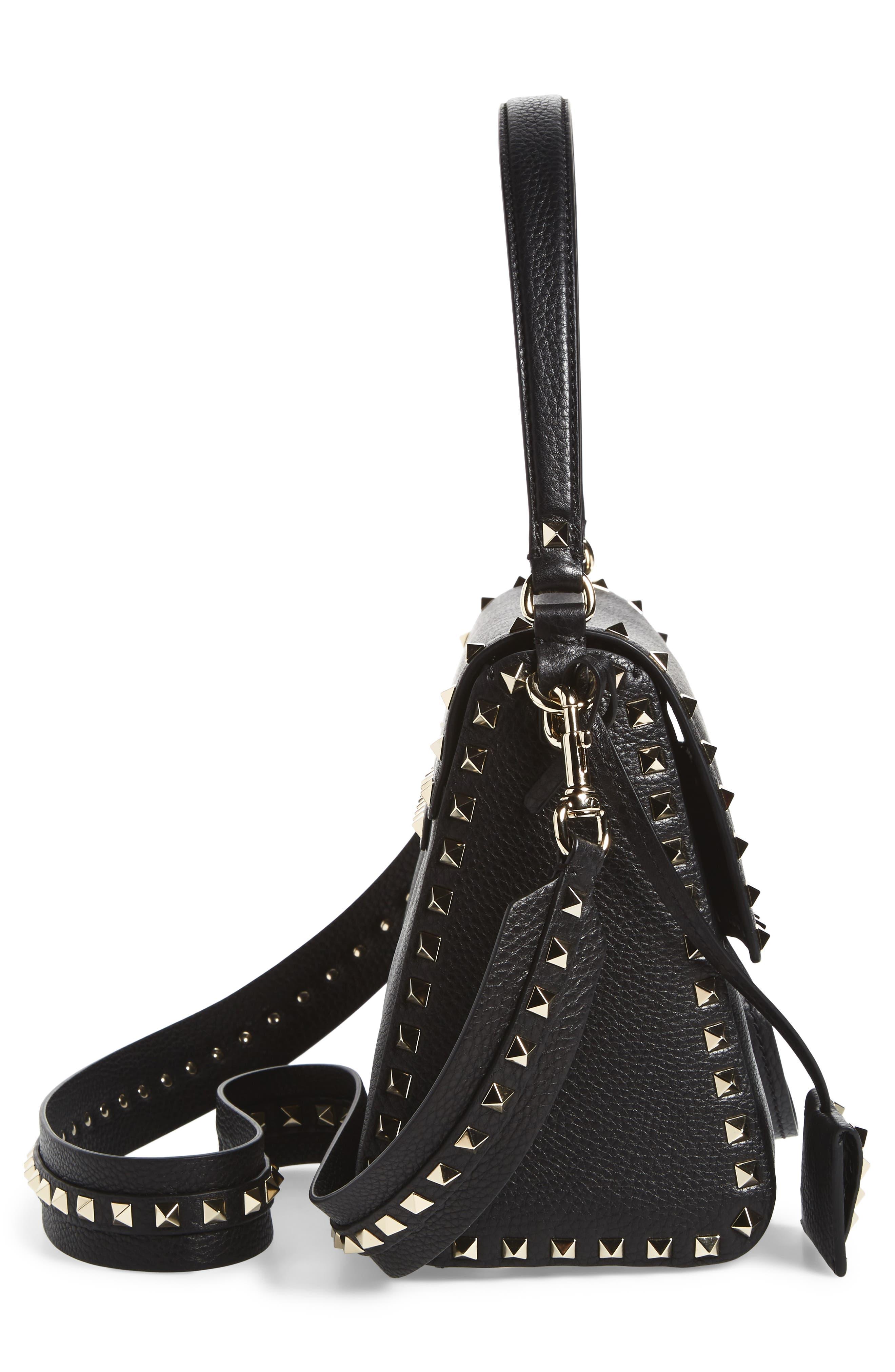 Medium Rockstud Leather Shoulder Bag,                             Alternate thumbnail 5, color,                             001