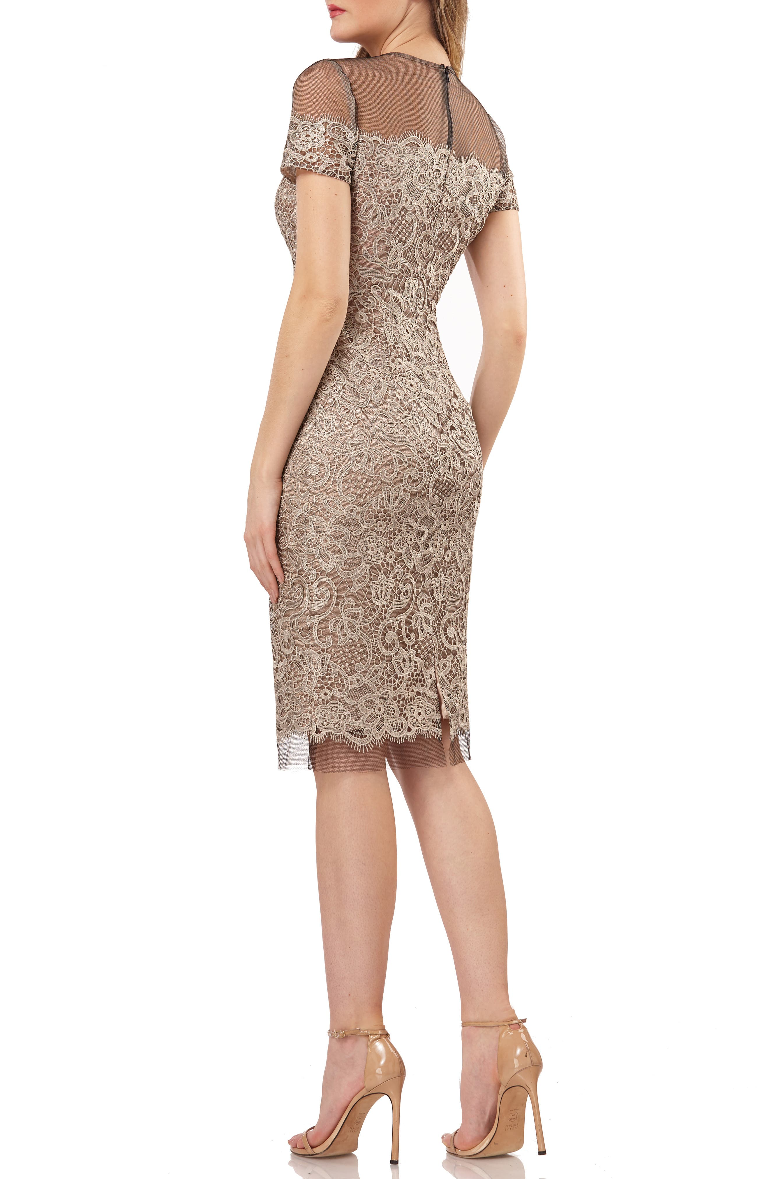 JS COLLECTIONS,                             Embroidered Lace Sheath Dress,                             Alternate thumbnail 2, color,                             BLACK/ OYSTER