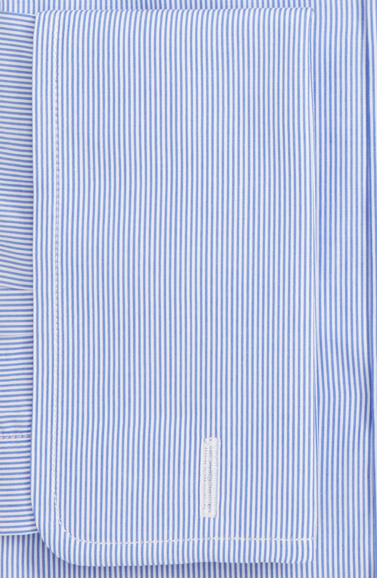 Trim Fit Stripe Dress Shirt,                             Alternate thumbnail 2, color,                             WHITE/ BLUE