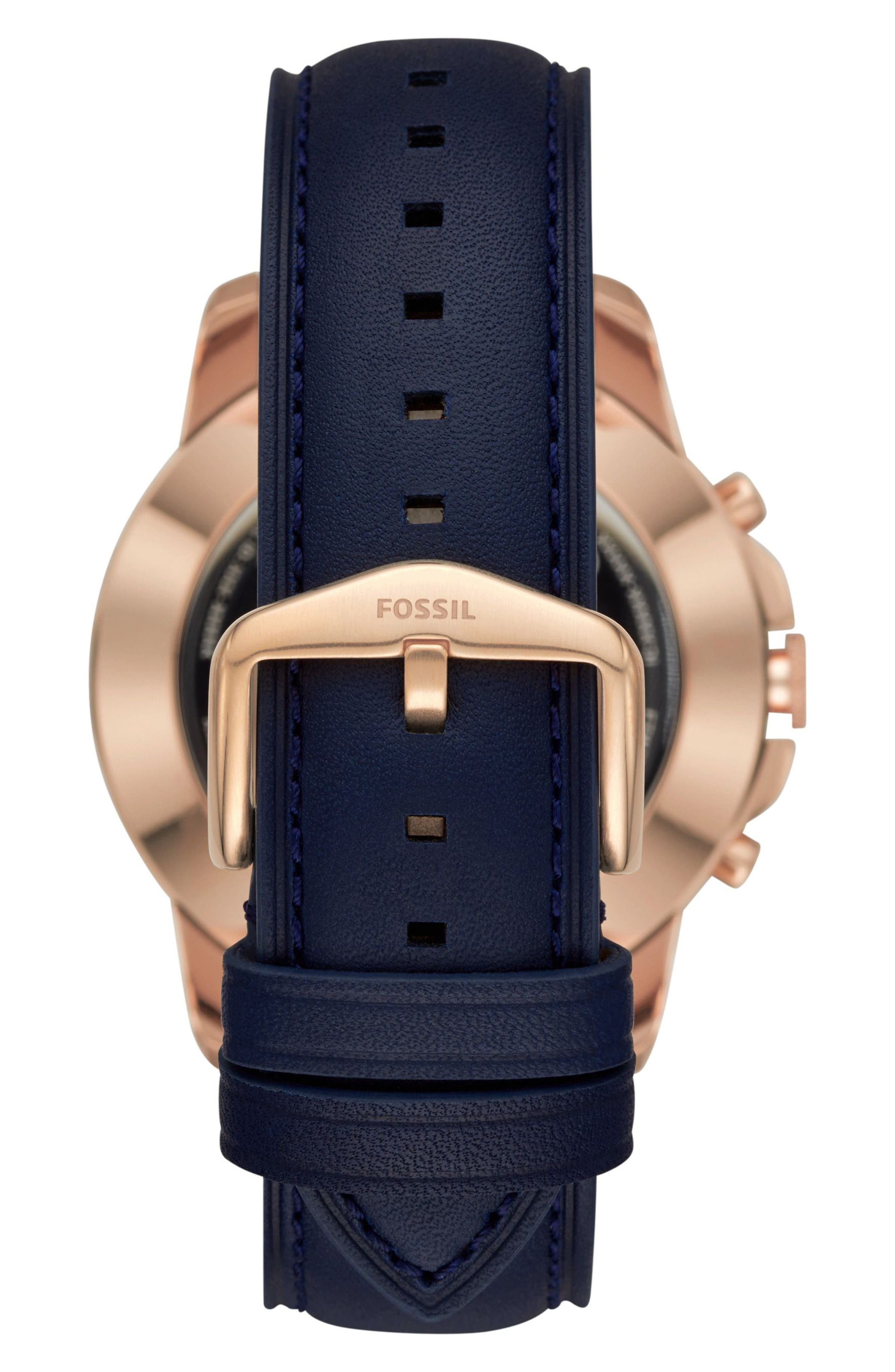 Grant Leather Strap Smart Watch, 44mm,                             Alternate thumbnail 2, color,                             BLUE/ ROSE GOLD