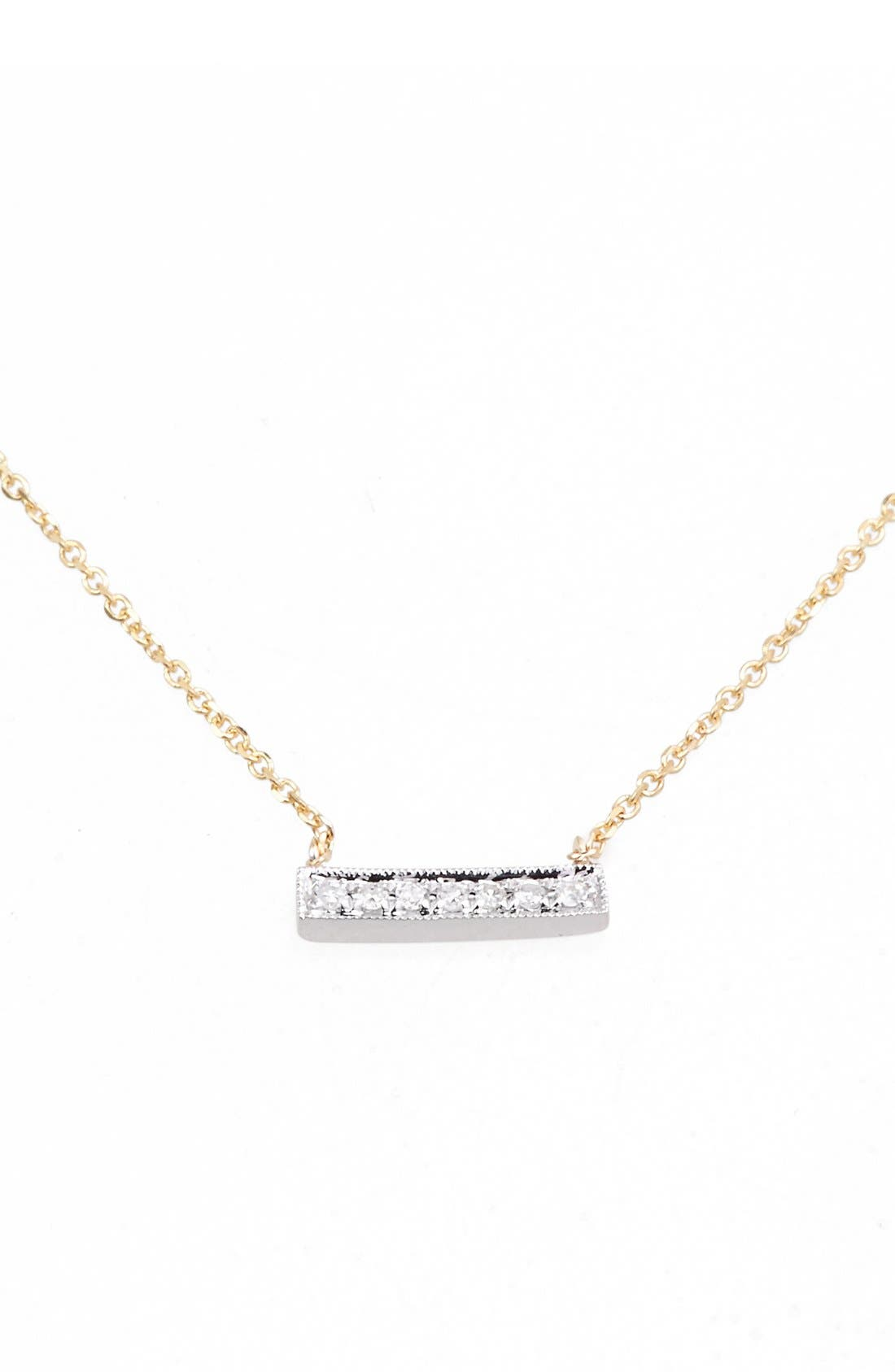 'Sylvie Rose' Diamond Bar Pendant Necklace,                             Main thumbnail 1, color,                             YELLOW GOLD