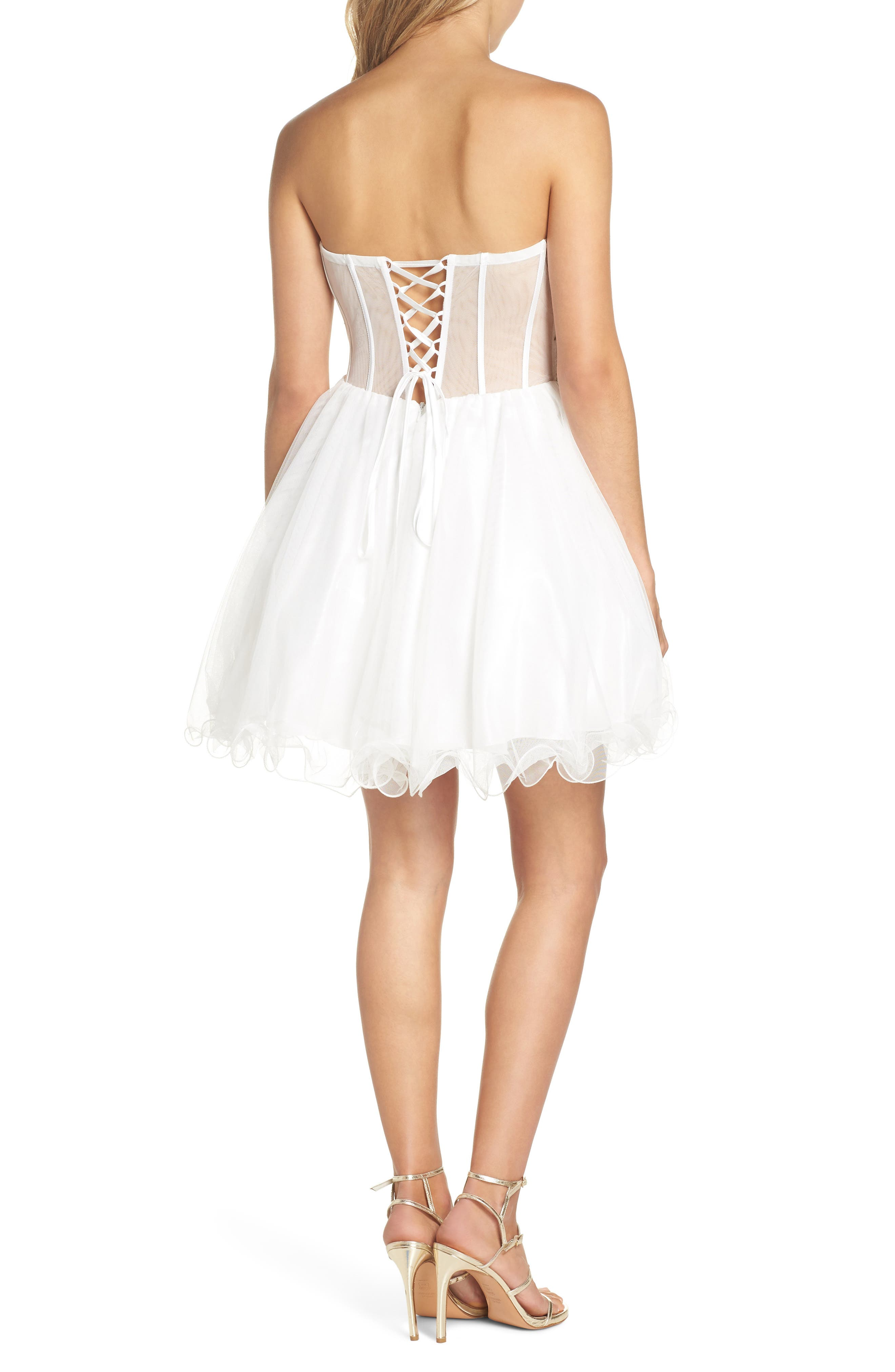 Embroidered Lace Fit & Flare Dress,                             Alternate thumbnail 2, color,                             IVORY/ MULTI
