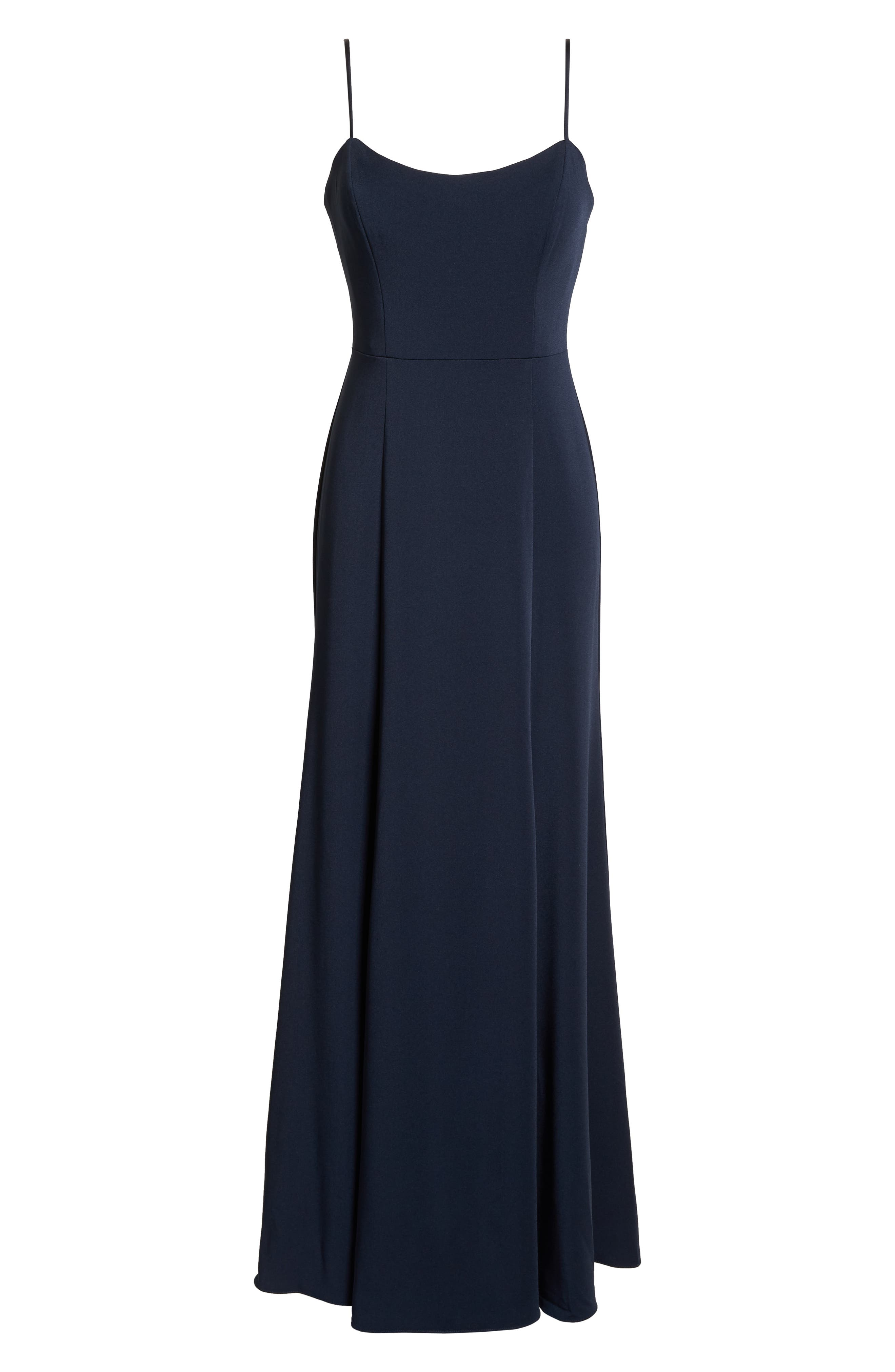 Aniston Luxe Crepe Trumpet Gown,                             Alternate thumbnail 7, color,                             MIDNIGHT