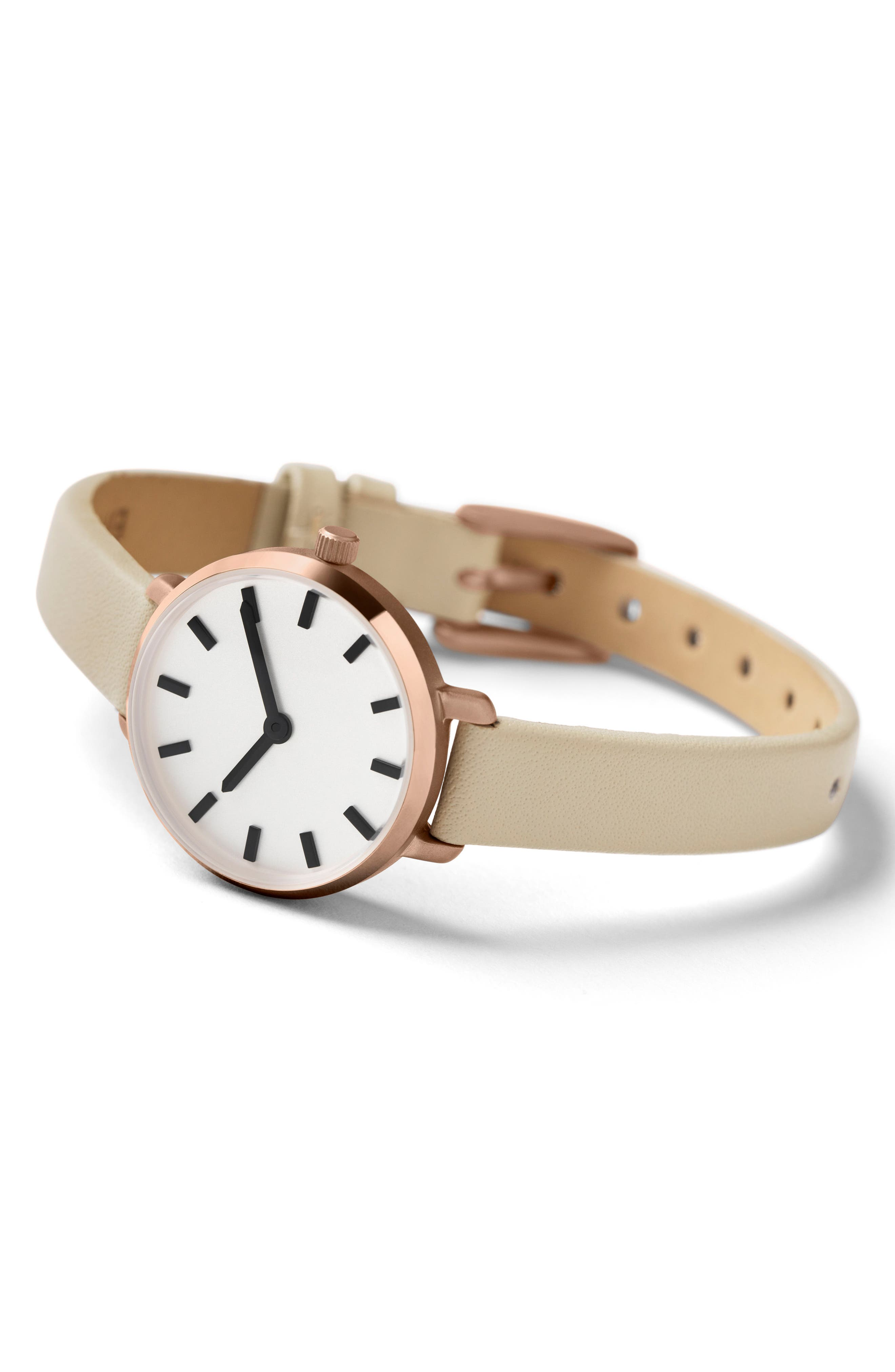 Beverly Round Leather Strap Watch, 26mm,                             Alternate thumbnail 2, color,                             GREY/ ROSE GOLD