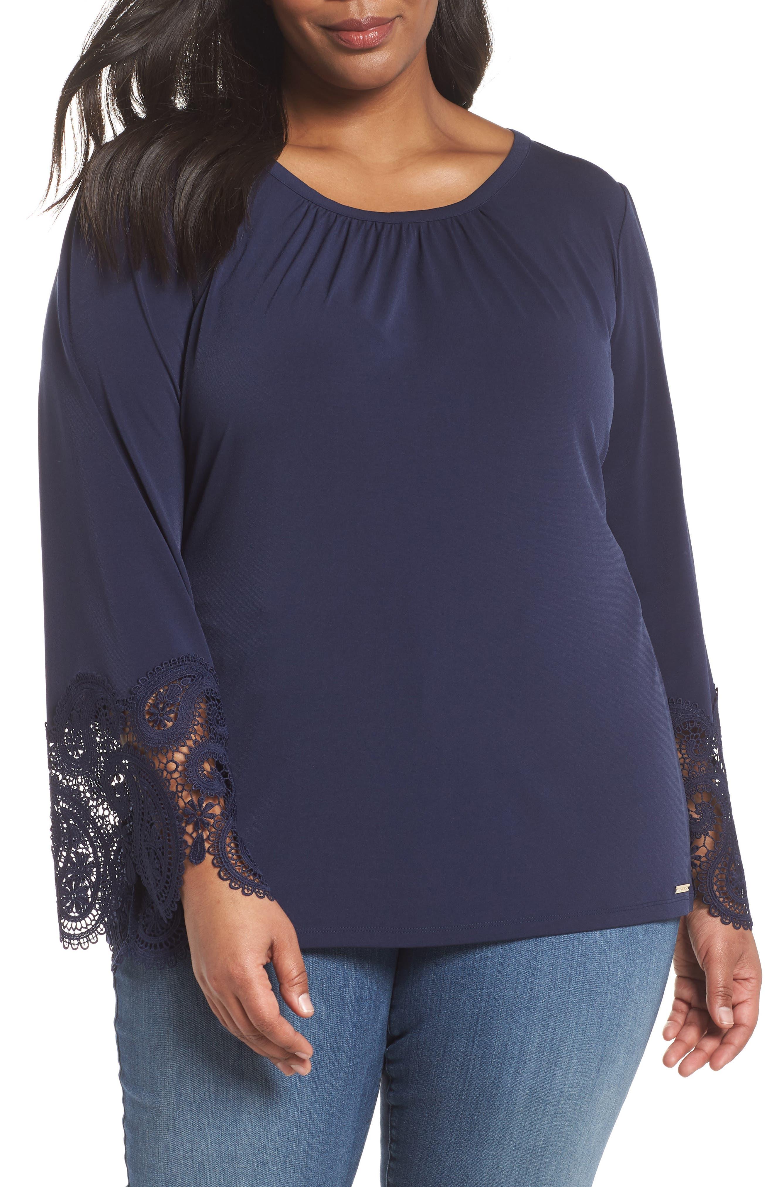 Lace Cuff Top,                         Main,                         color,