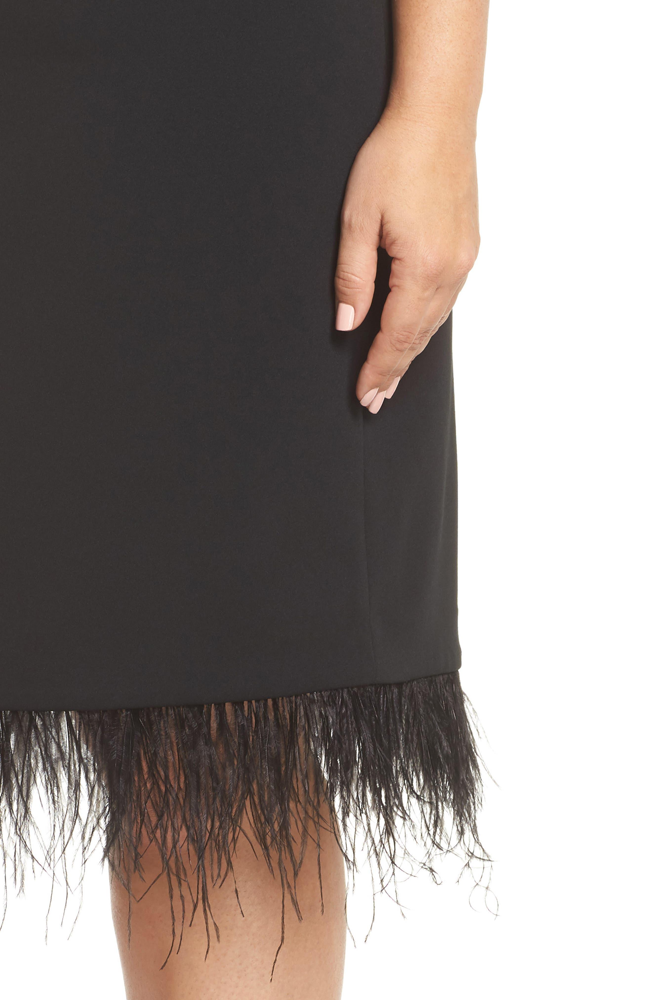 Feather Trim Sheath Dress,                             Alternate thumbnail 4, color,                             001