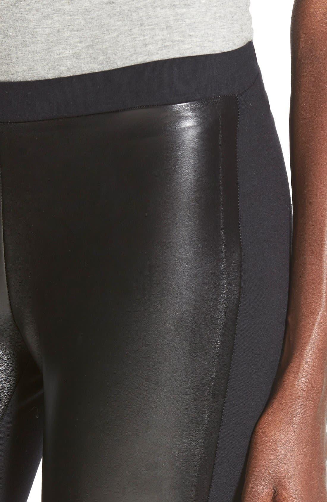 BP.,                             Two-Tone Faux Leather Leggings,                             Alternate thumbnail 5, color,                             001