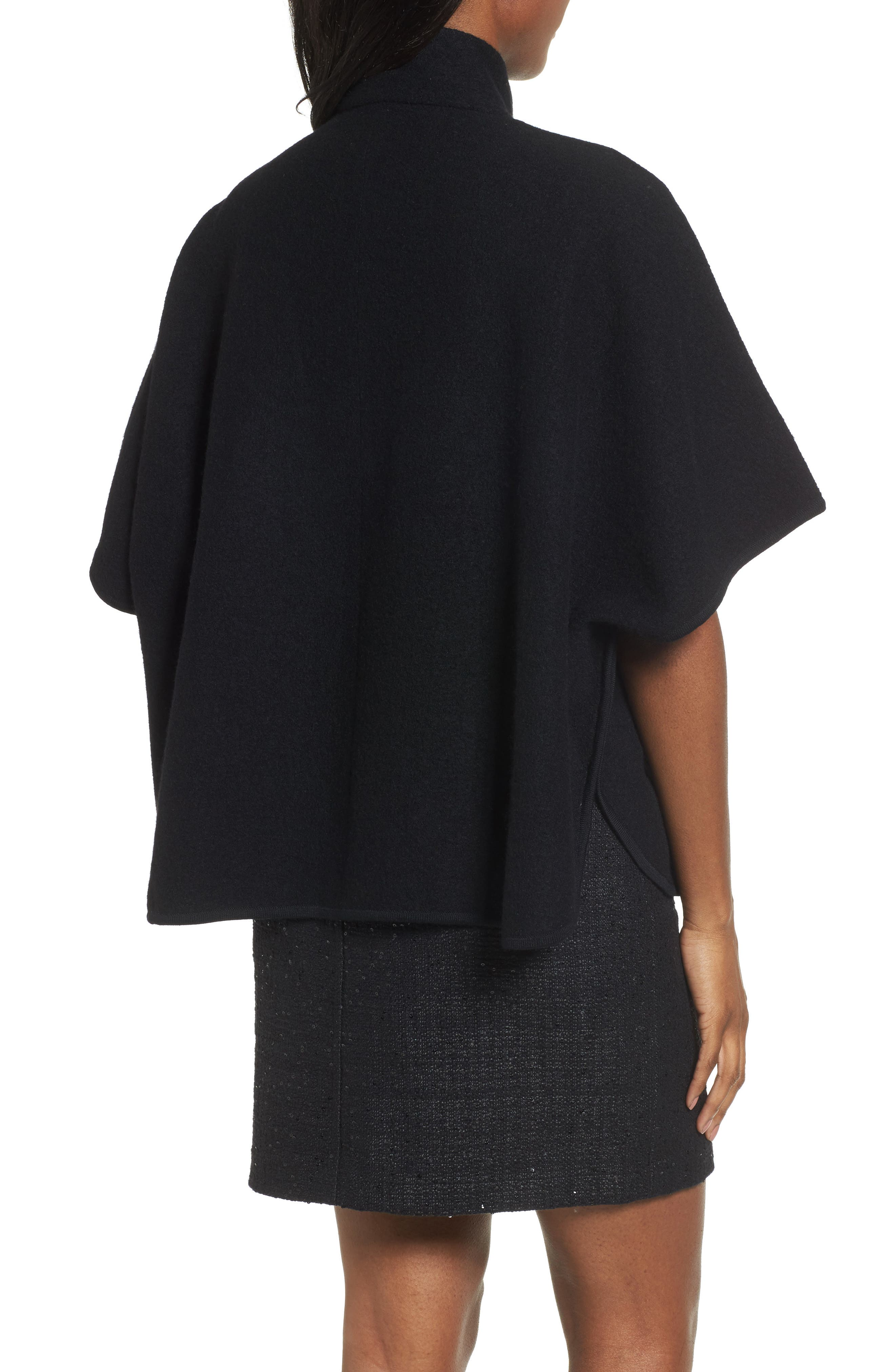 Zip Front Boiled Wool Cape,                             Alternate thumbnail 2, color,                             001