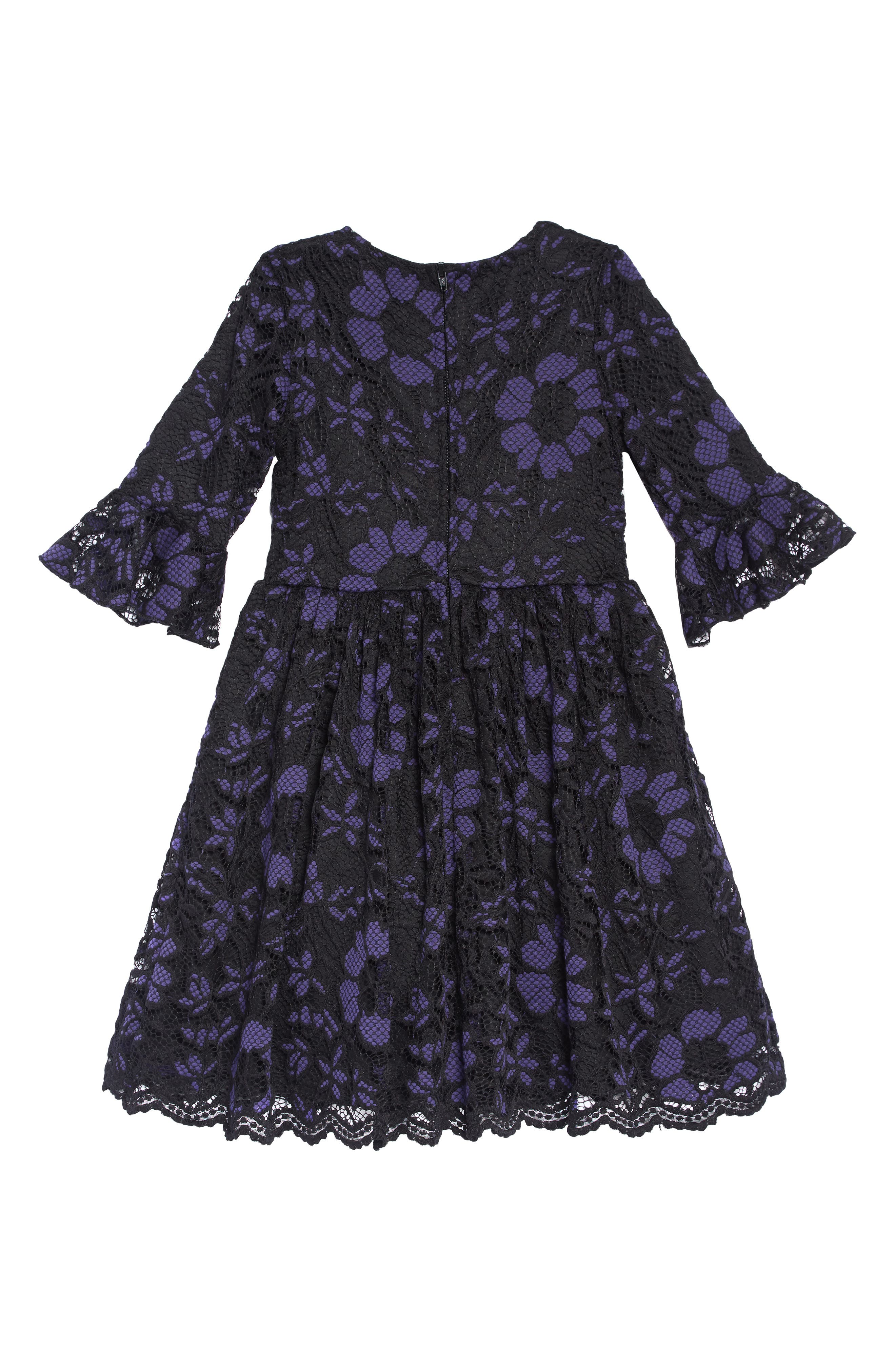 Lace Overlay Dress,                             Alternate thumbnail 2, color,                             ROYAL