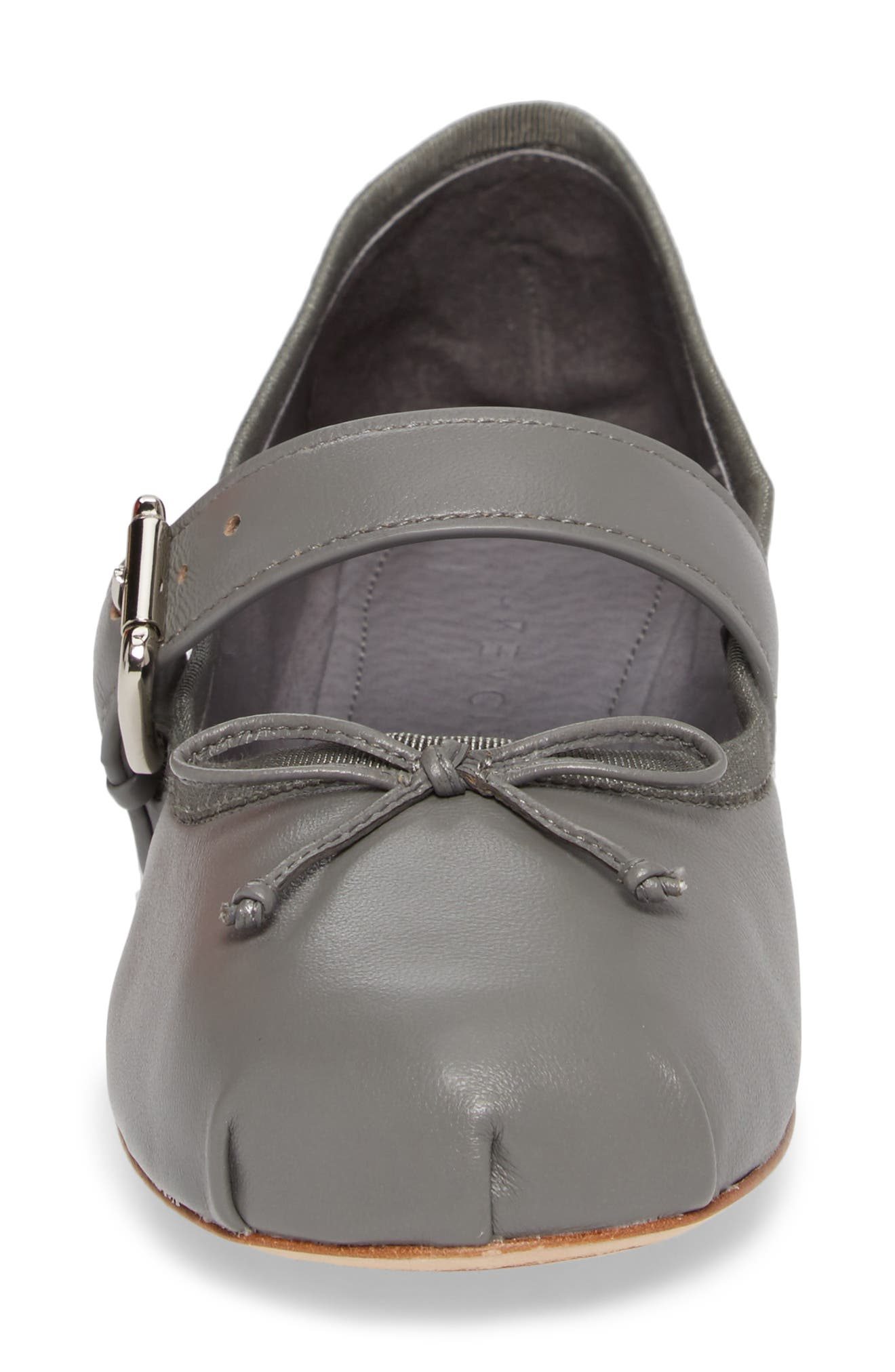 Molly Mary Jane Flat,                             Alternate thumbnail 4, color,                             GREY LEATHER
