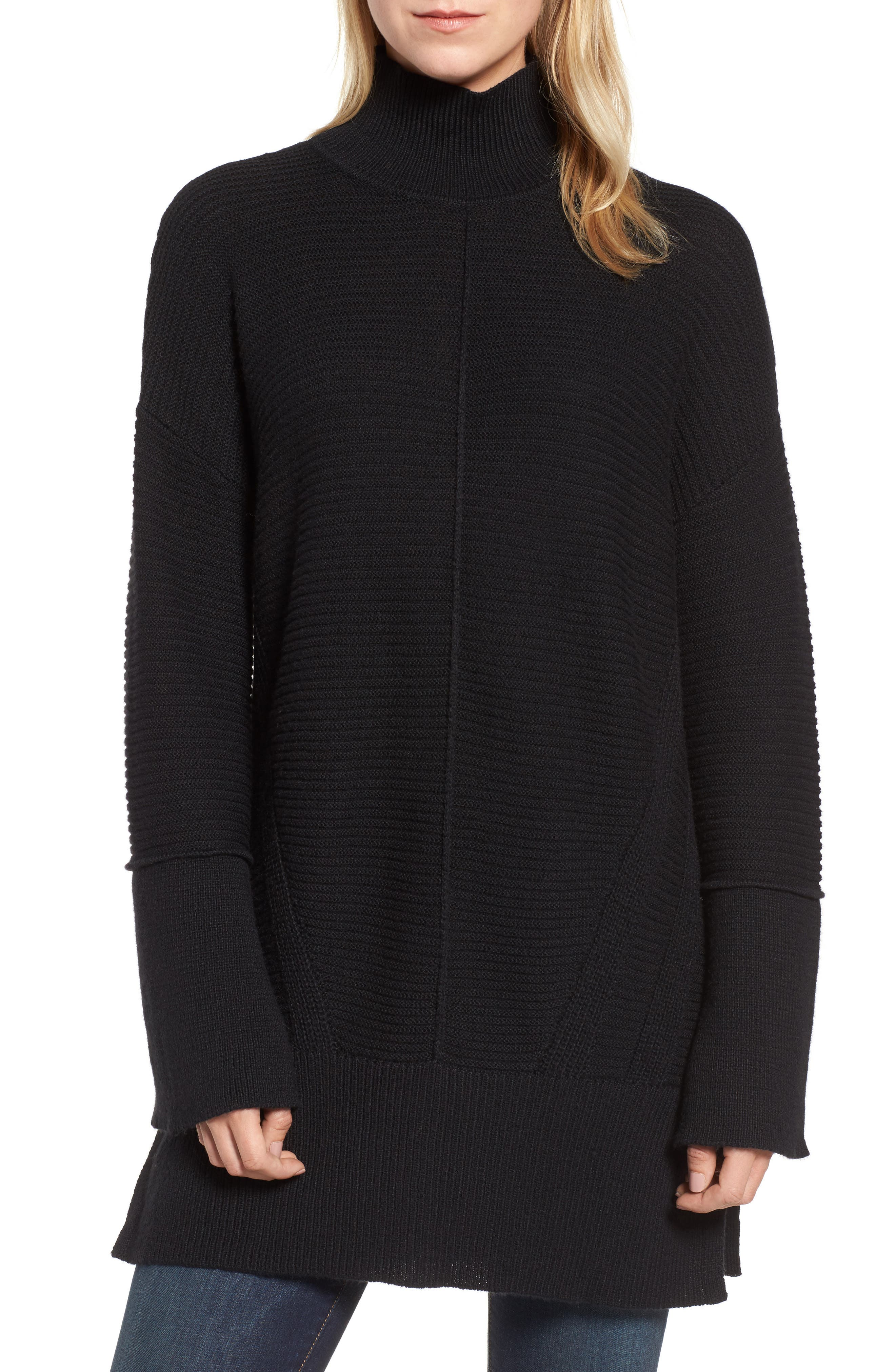 Ribbed Turtleneck Tunic Sweater,                         Main,                         color, BLACK