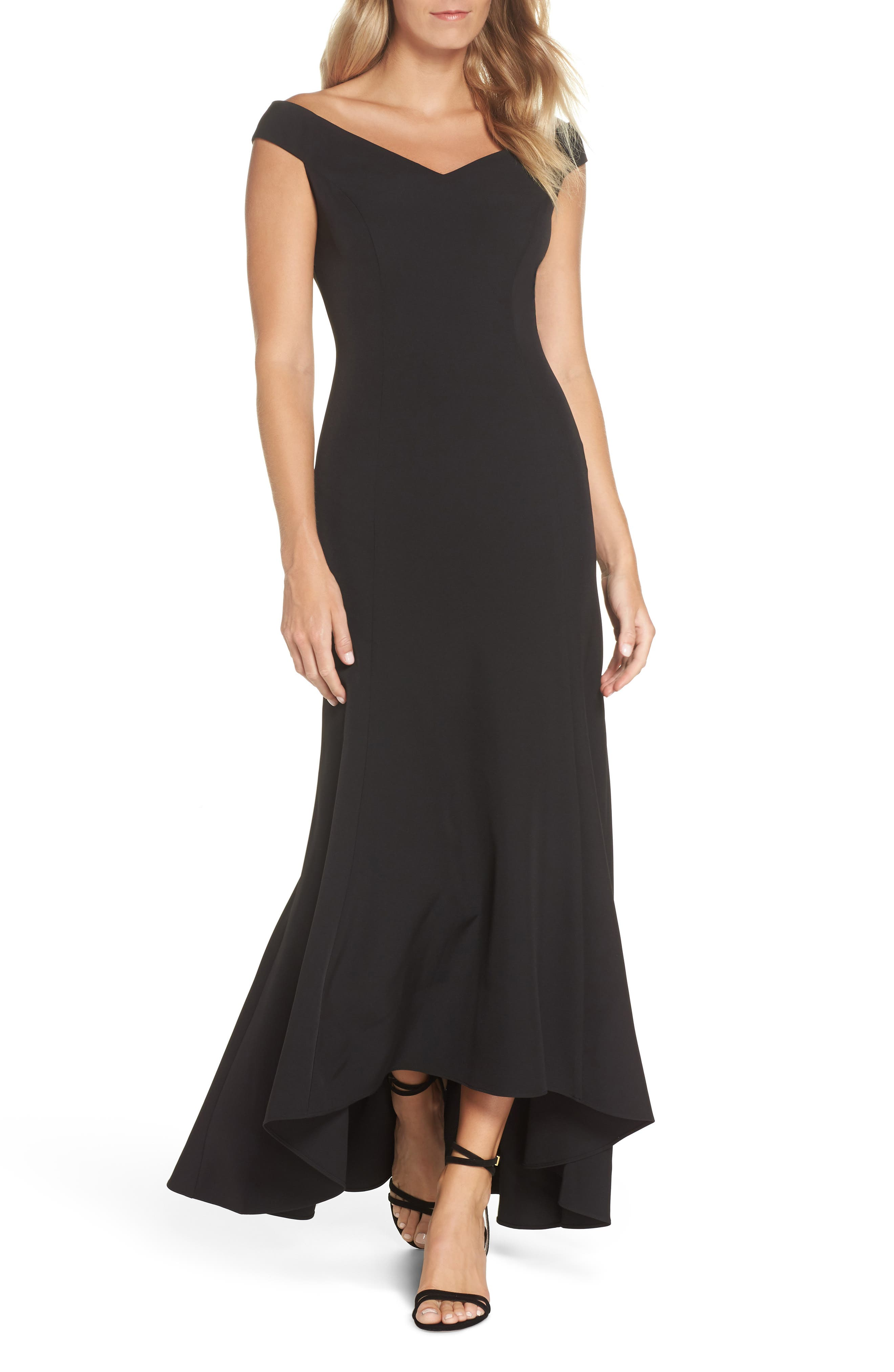 Vince Camuto Off The Shoulder Trumpet Dress, Black