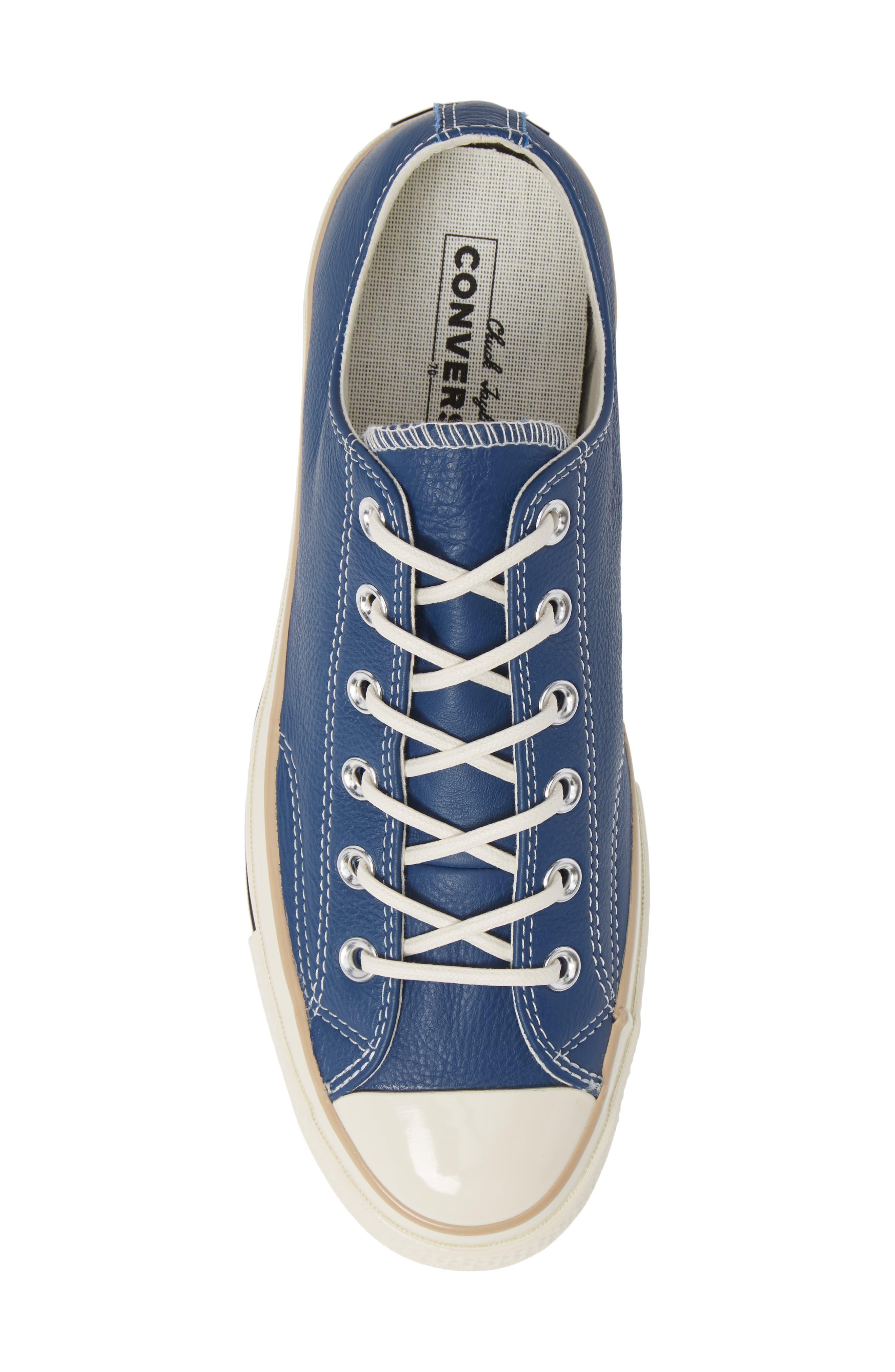 Chuck 70 Boot Leather Low Top Sneaker,                             Alternate thumbnail 5, color,                             DARK BURGUNDY/ CYAN/ EGRET
