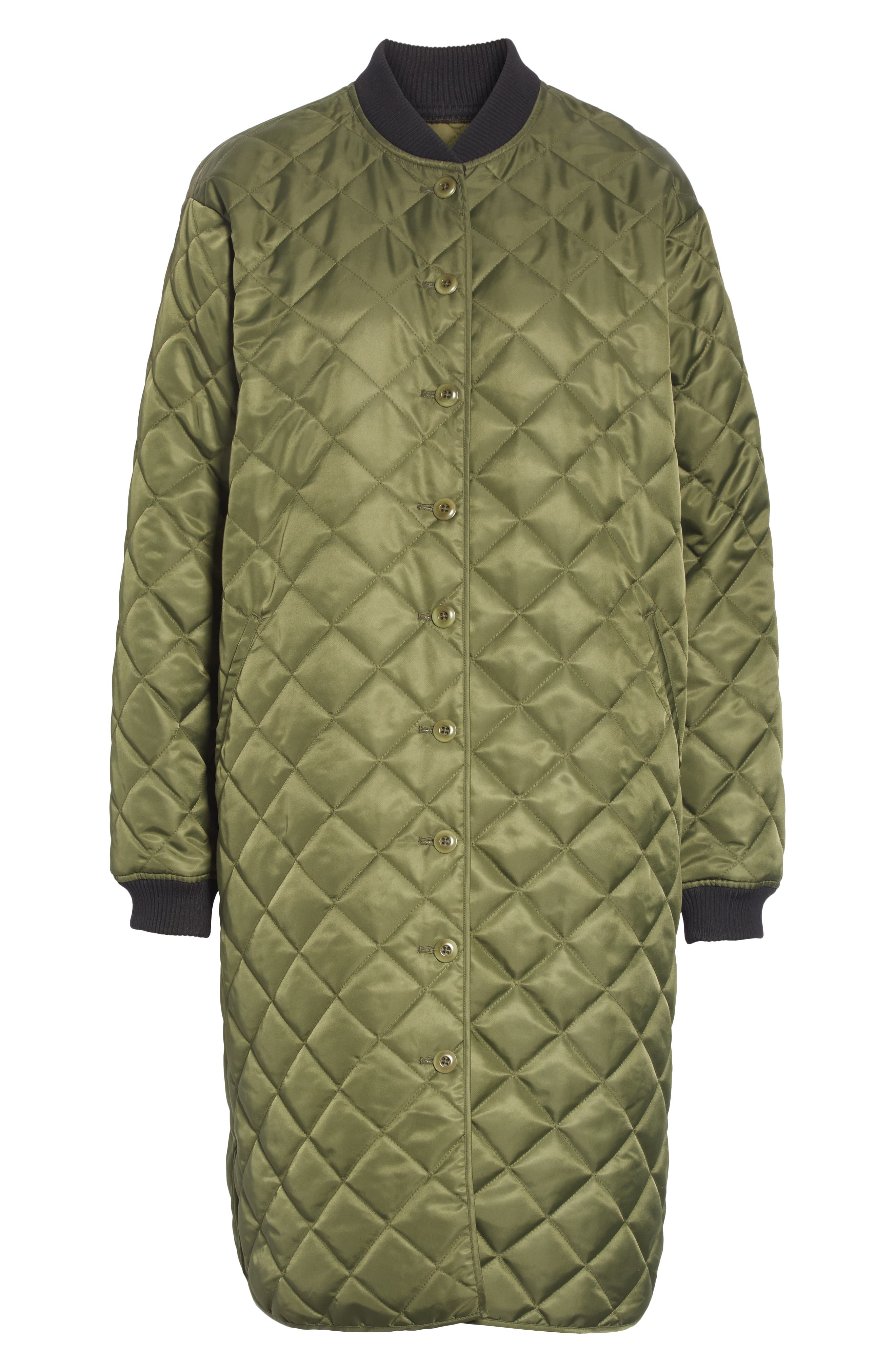 Quilted Long Coat,                             Alternate thumbnail 5, color,                             ARMY