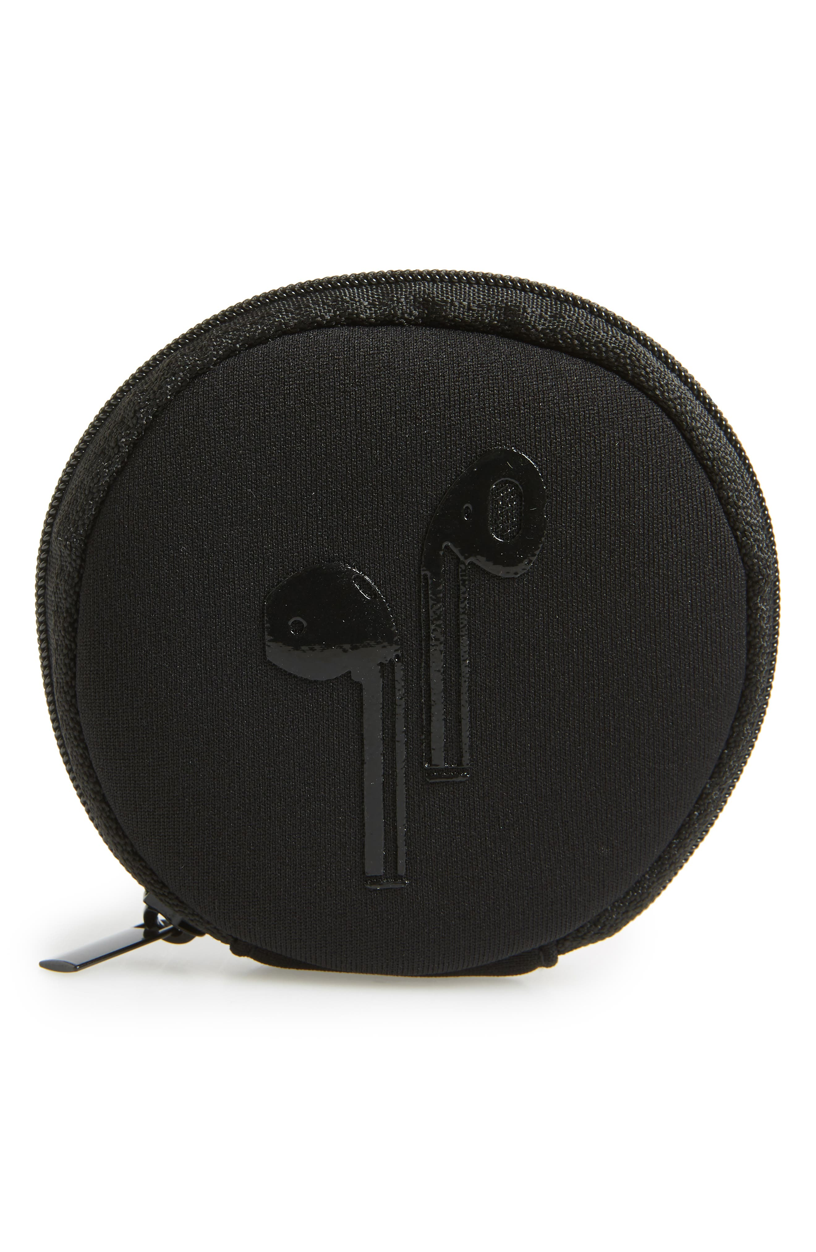 Neoprene Earbuds Case,                             Main thumbnail 1, color,                             BLACK