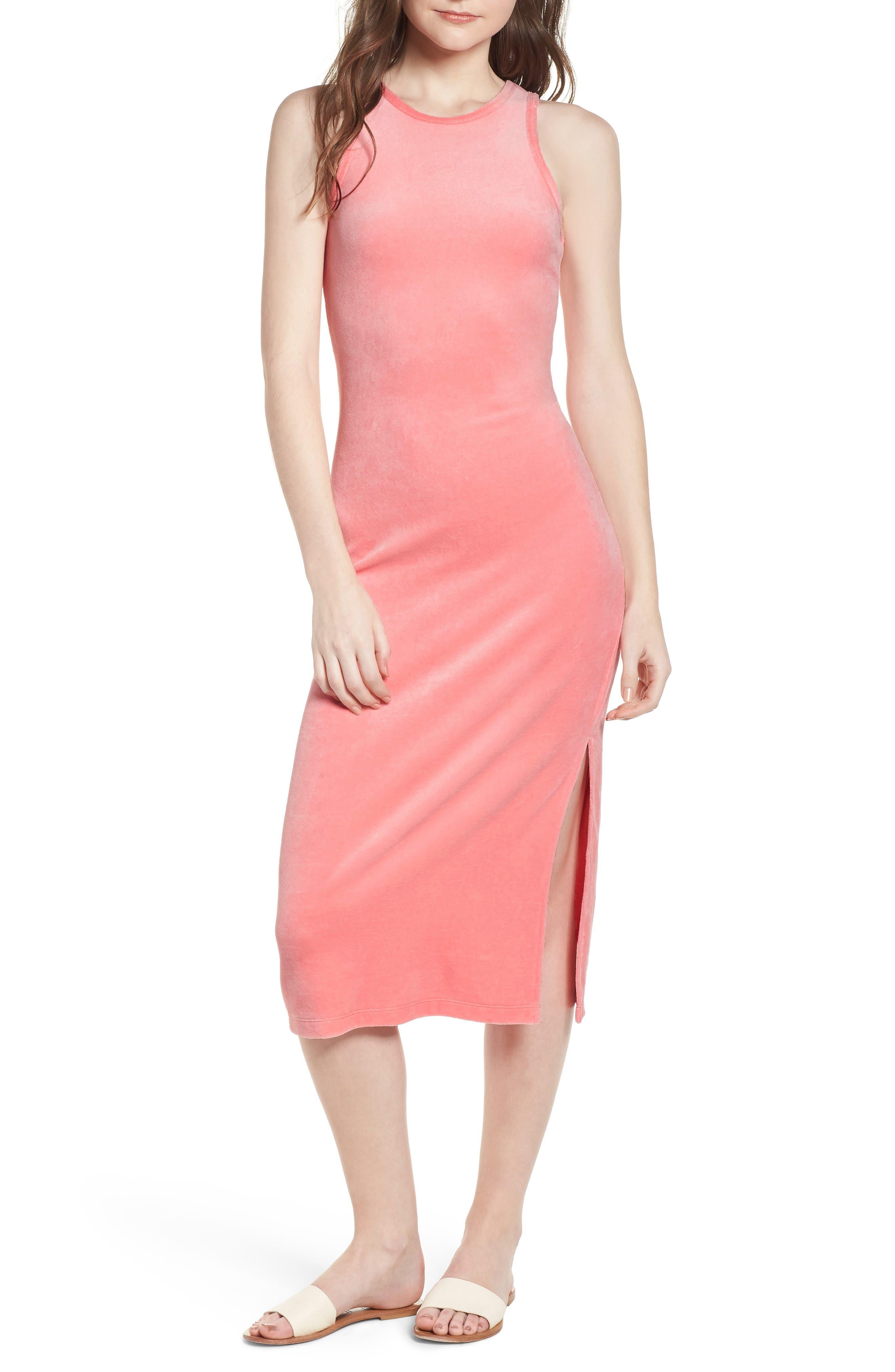 Stretch Velour Tank Midi Dress,                         Main,                         color, 666