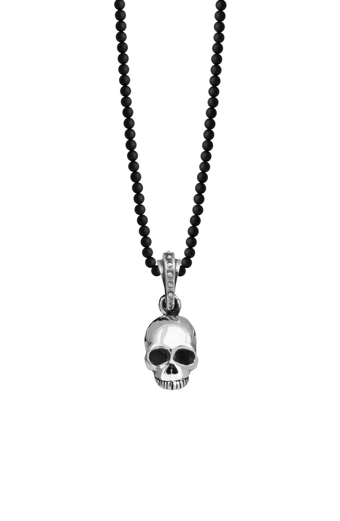 'Hamlet' Sterling Silver & Onyx Skull Pendant Necklace,                         Main,                         color, 004