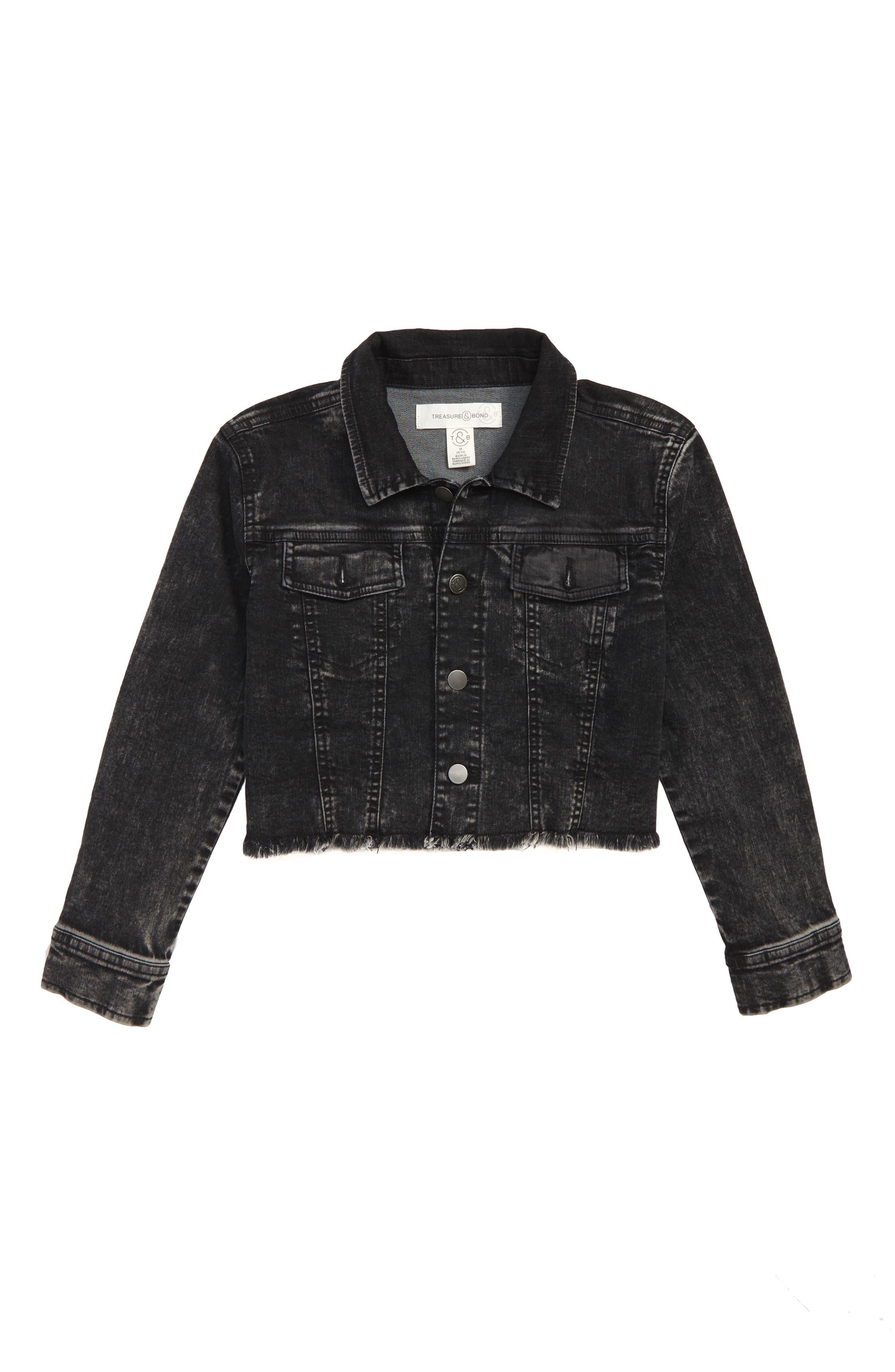 Crop Acid Wash Denim Jacket,                         Main,                         color, ROCK WASH