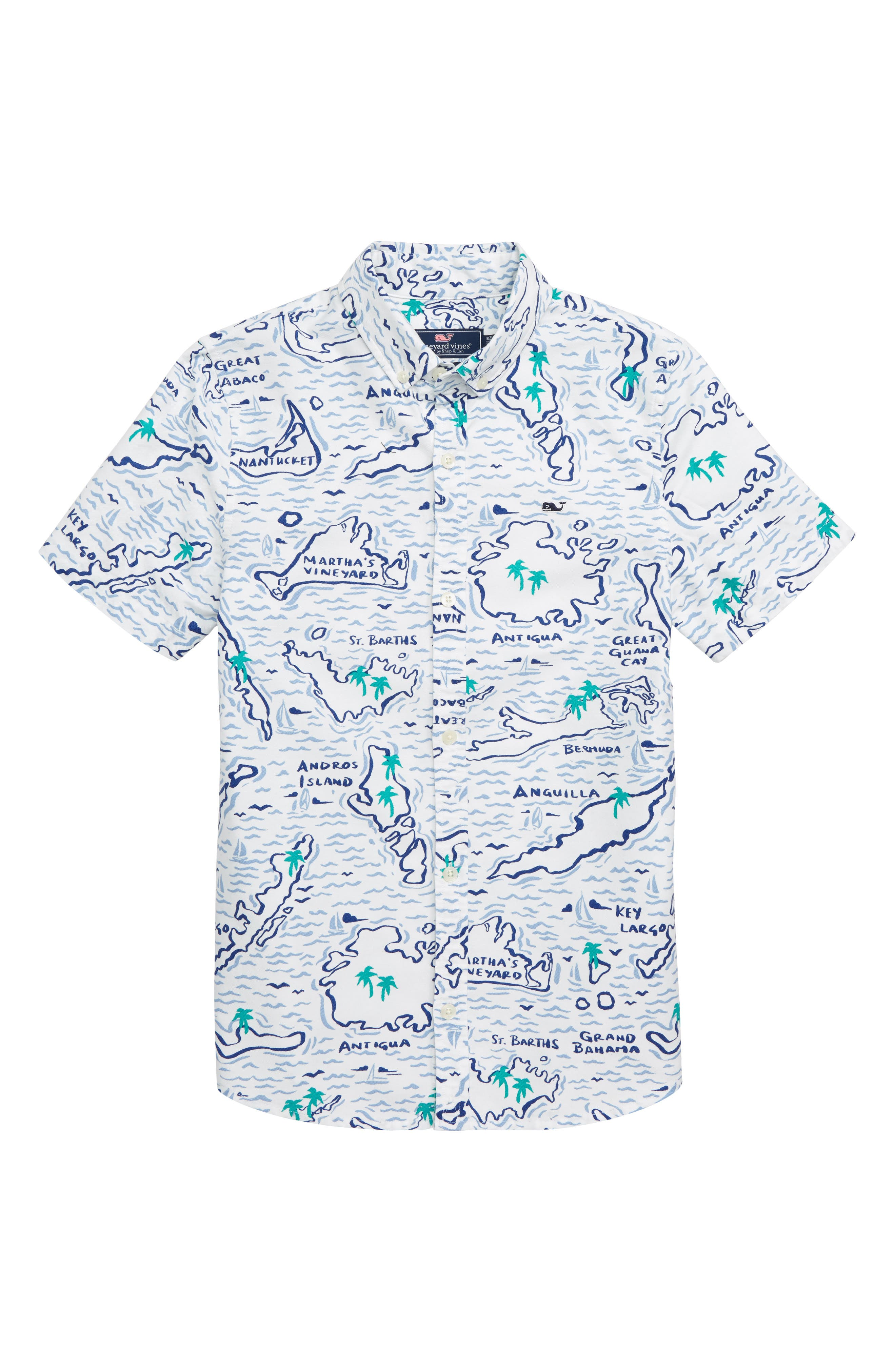 Map of the Island Oxford Whale Shirt,                             Main thumbnail 1, color,                             100