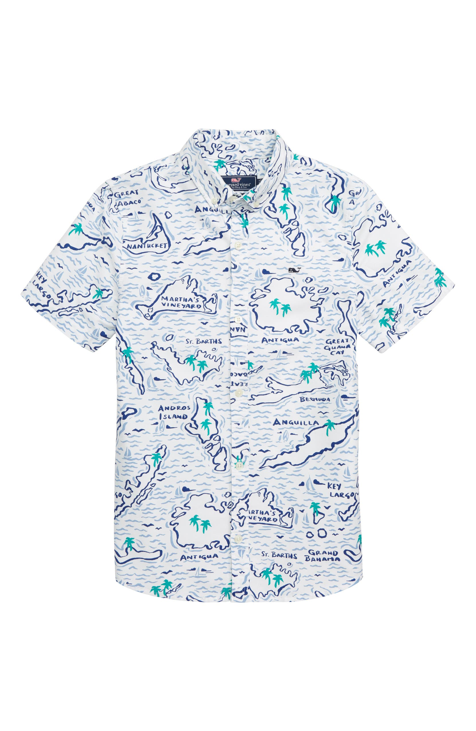 d2c33cec6 vineyard vines Map of the Island Oxford Whale Shirt (Big Boys ...