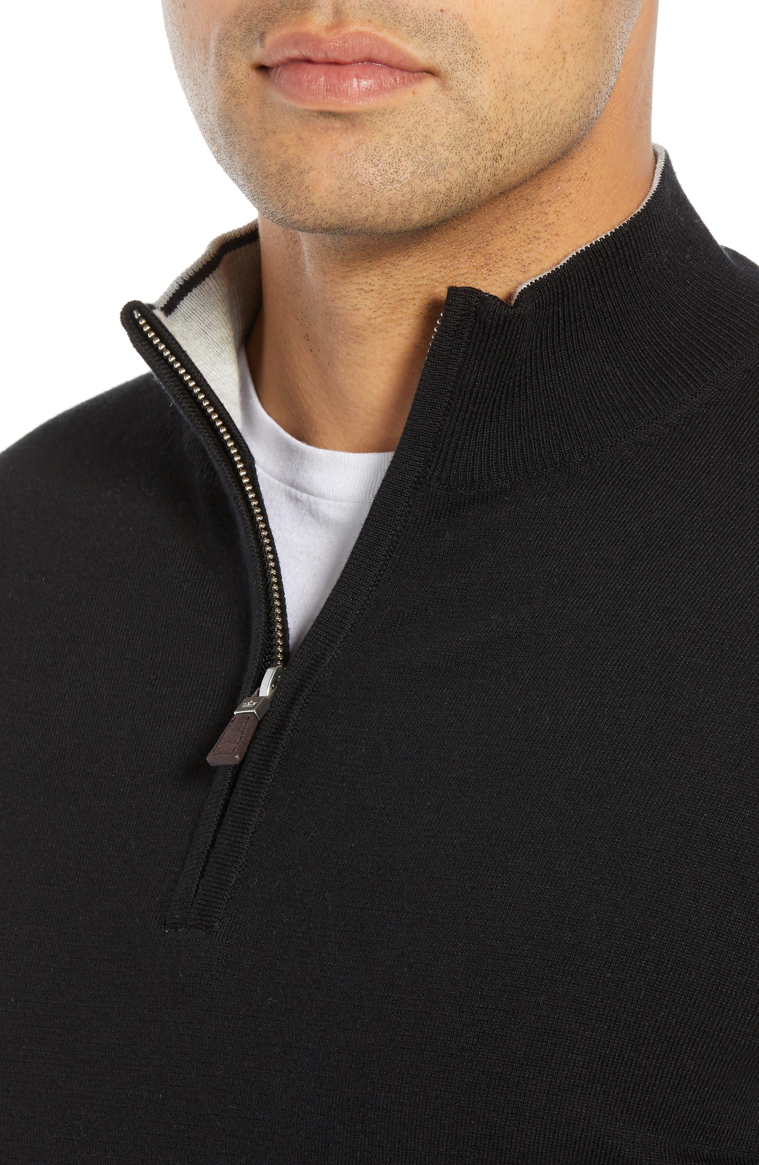 PETER MILLAR,                             Crown Quarter Zip Sweater,                             Alternate thumbnail 4, color,                             BLACK