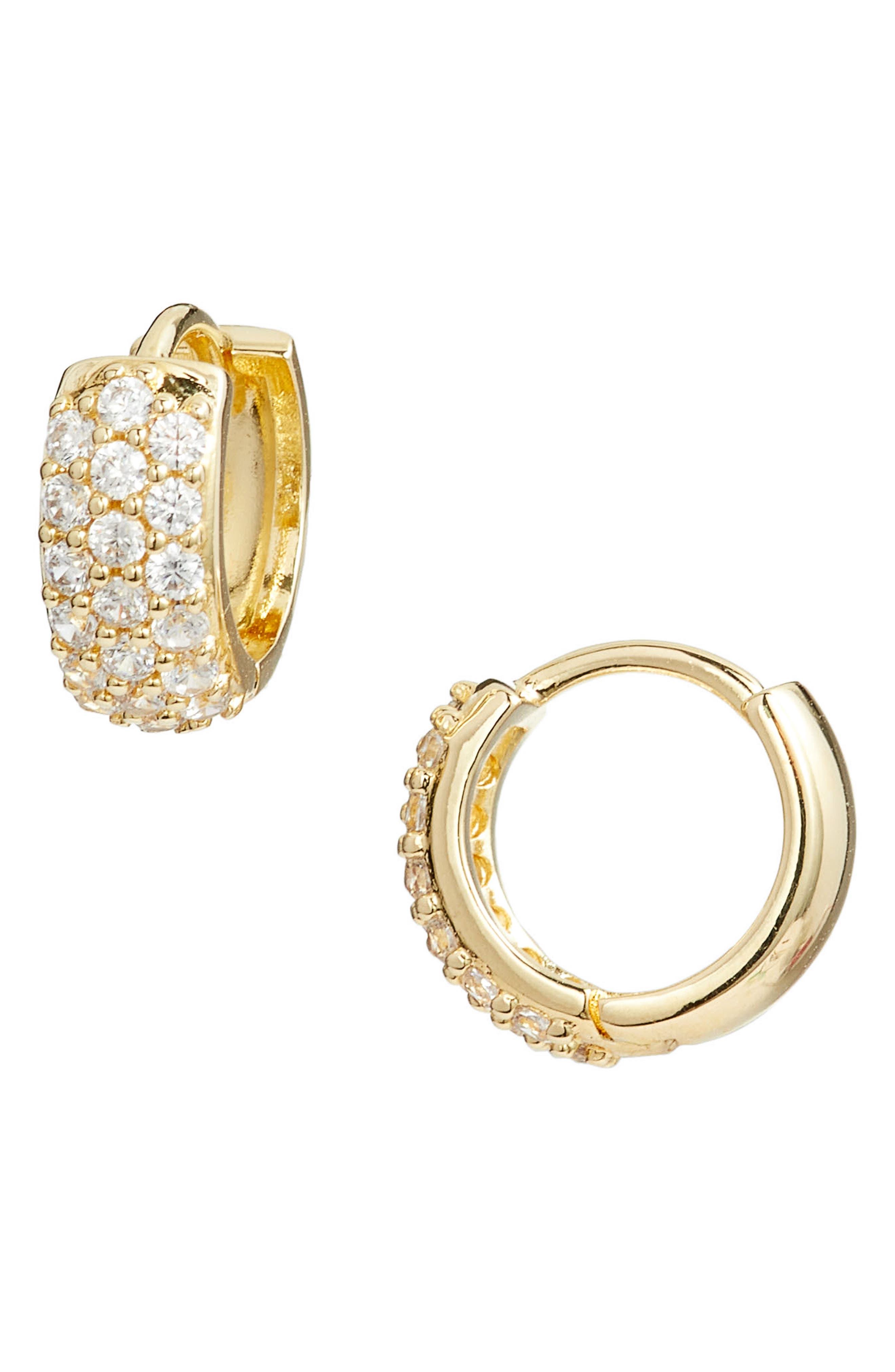 Pavé Wide Hinge Huggie Earrings,                             Main thumbnail 1, color,                             CLEAR- GOLD