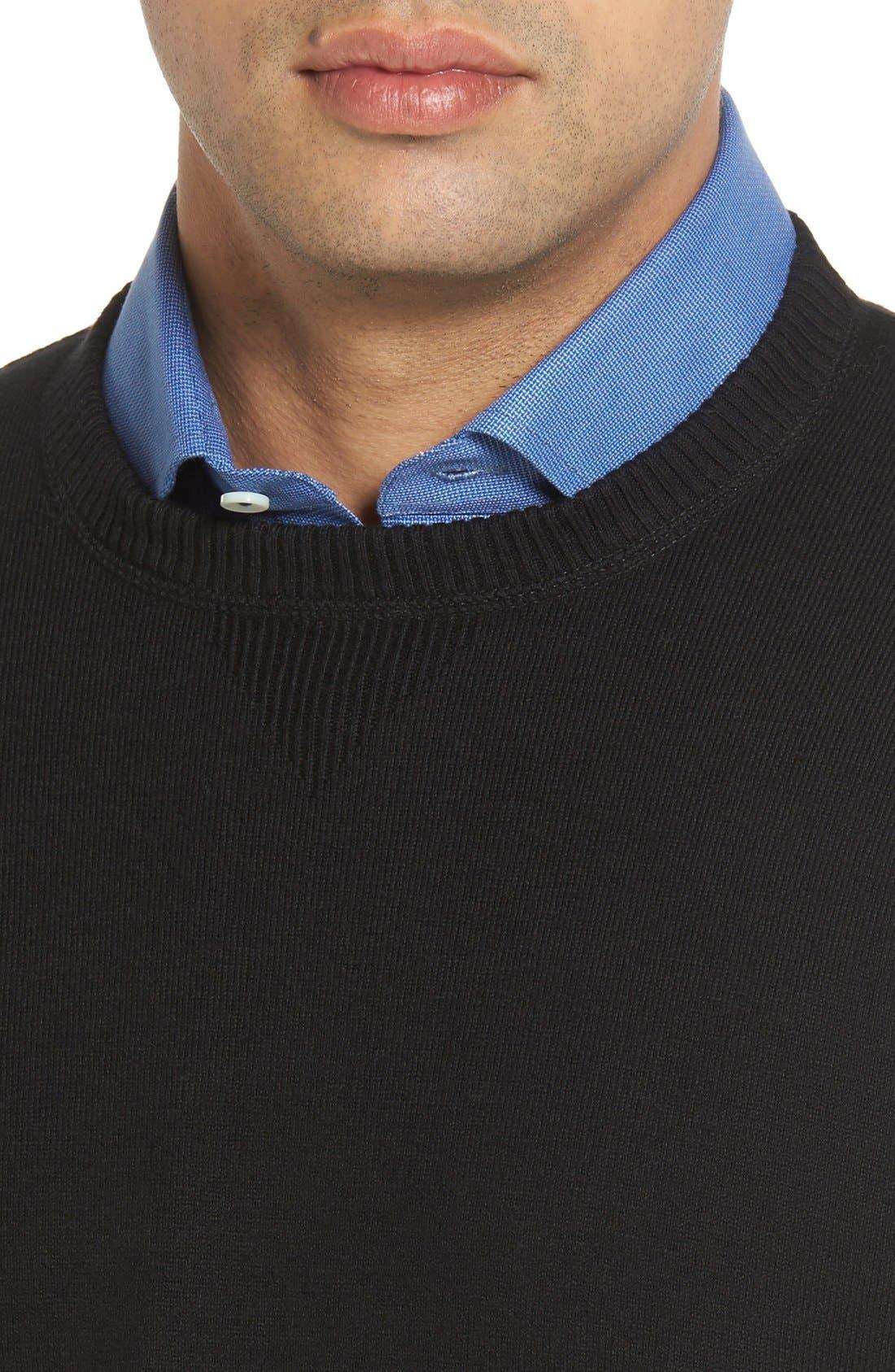 'Jersey Sport' Cotton Blend Crewneck Sweater,                             Alternate thumbnail 4, color,                             001