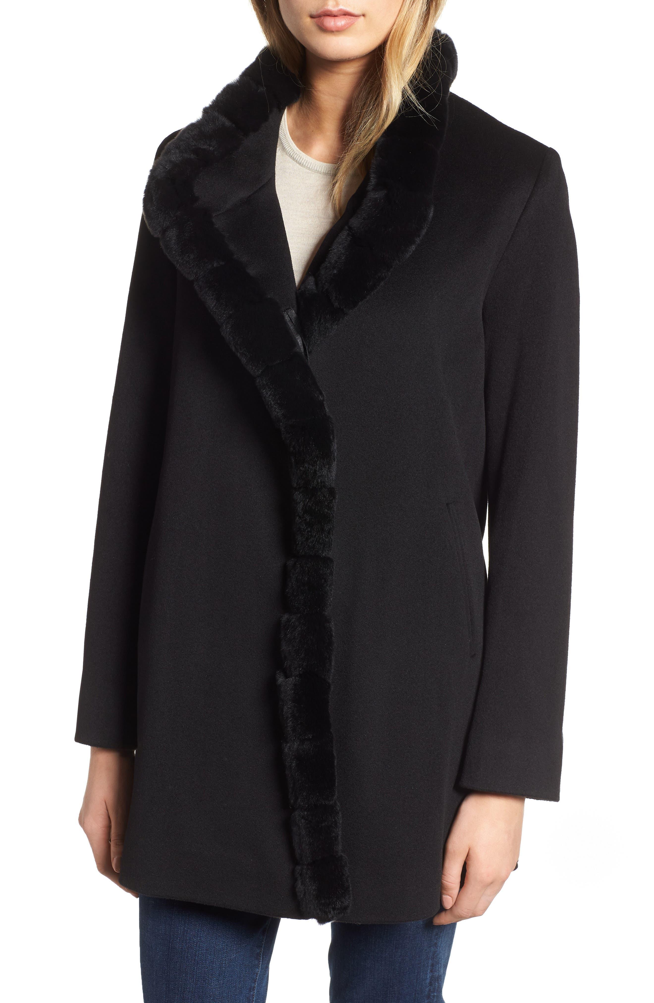 FLEURETTE,                             Loro Piana Wool Car Coat with Genuine Rex Rabbit Fur Trim,                             Main thumbnail 1, color,                             001
