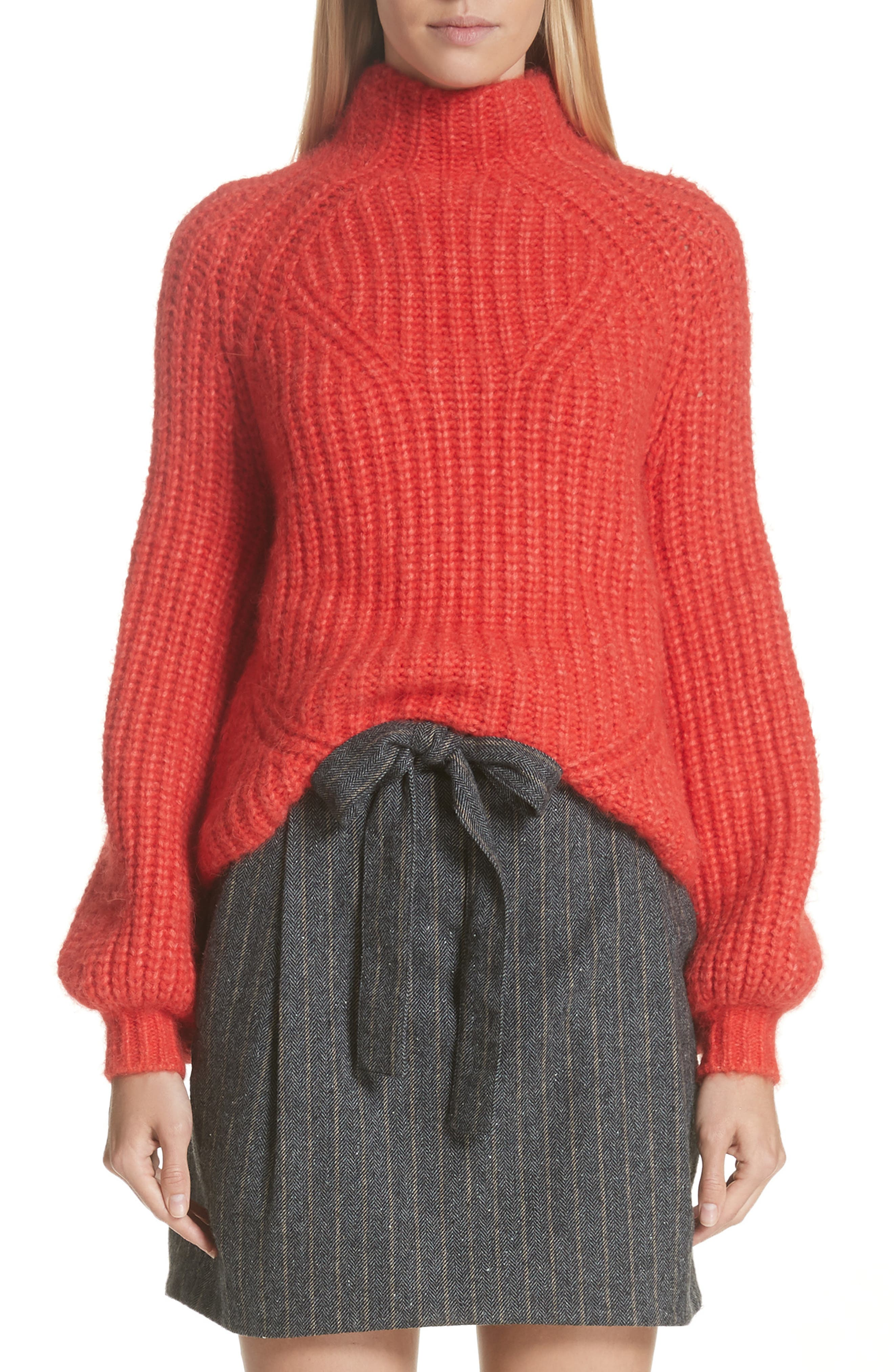 Micha Rib-Knit Alpaca-Blend Sweater - Red Size S in Crimson