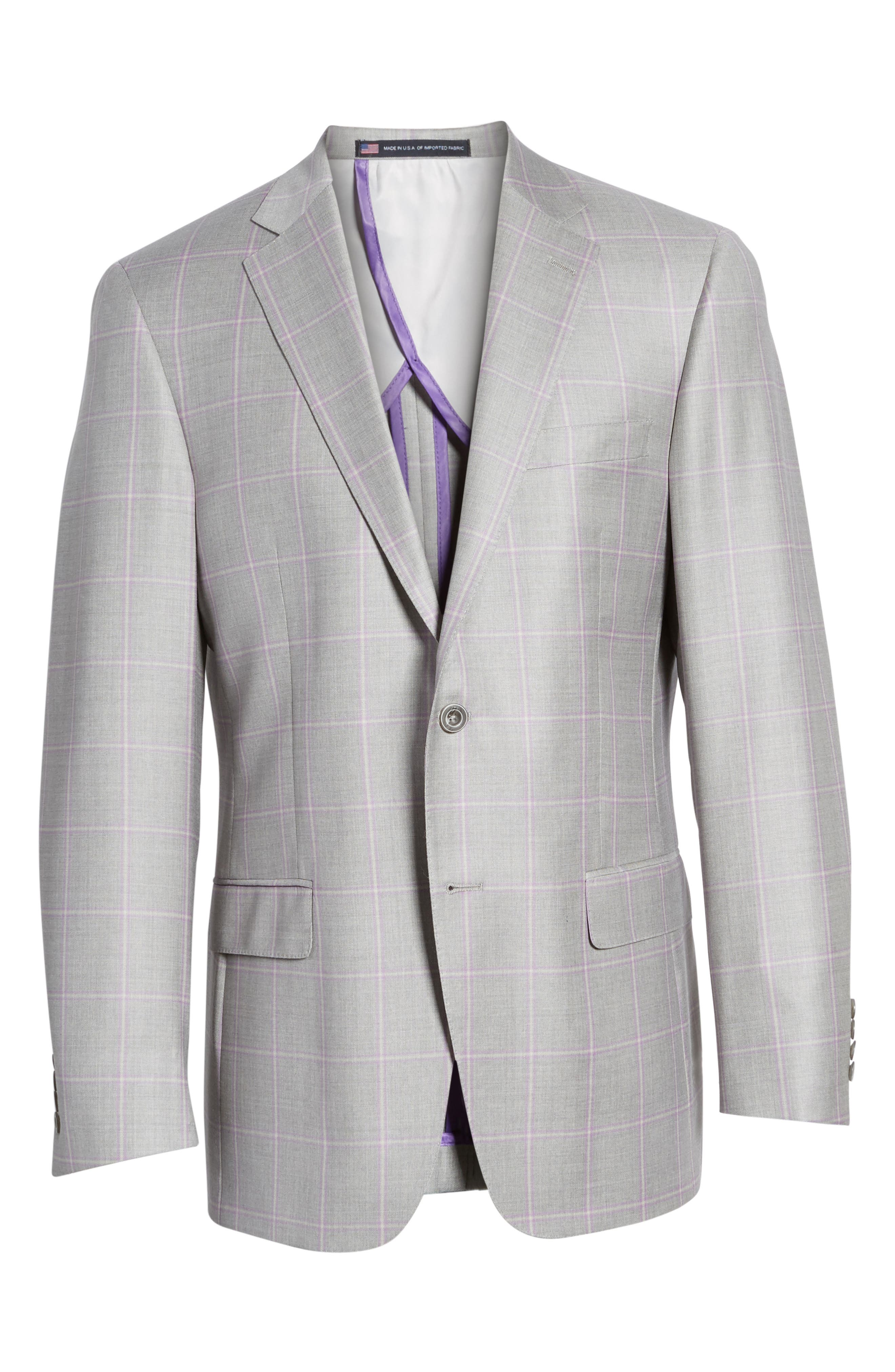 Classic Fit Windowpane Wool Sport Coat,                             Alternate thumbnail 5, color,                             050