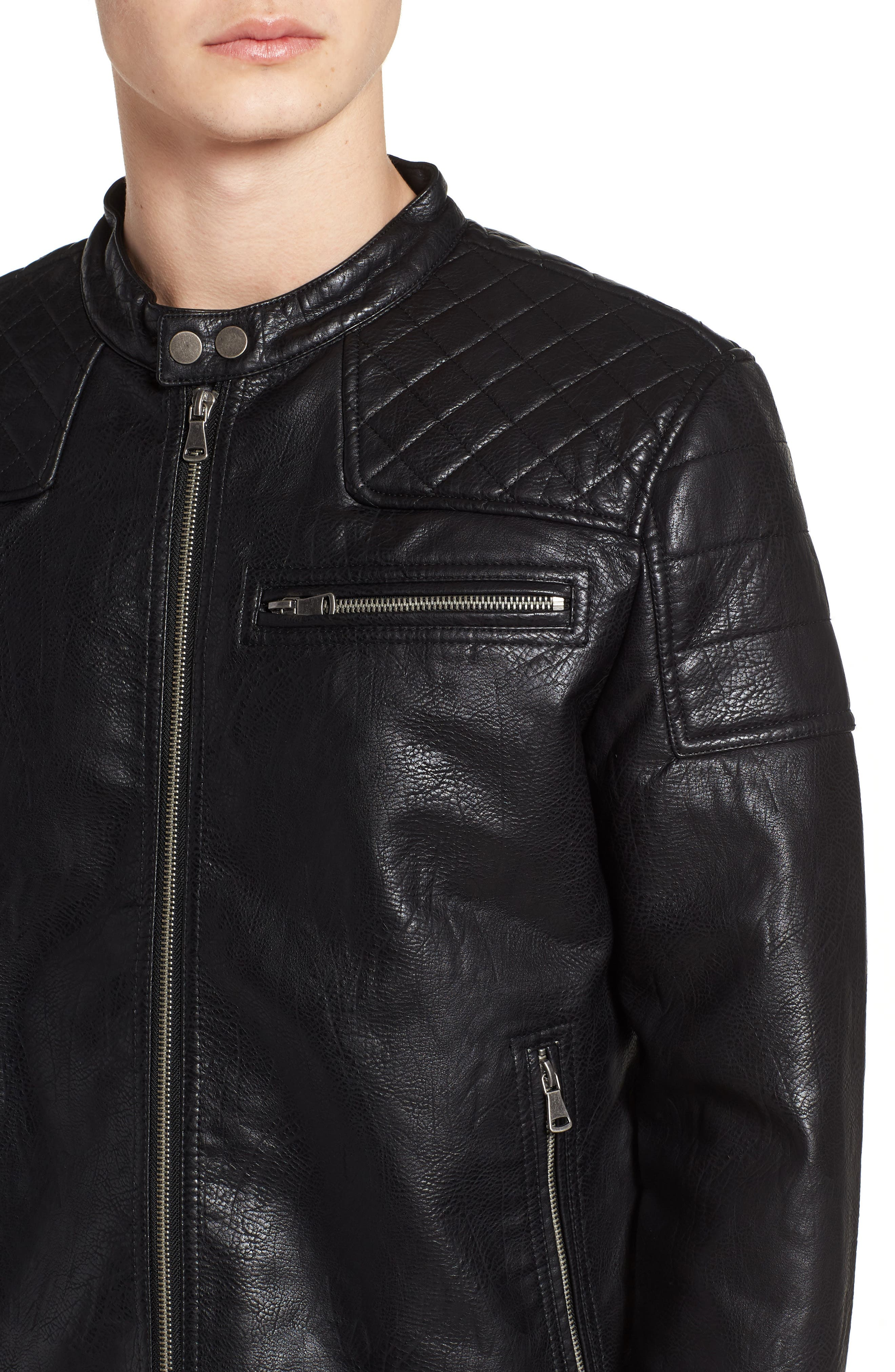 Washed Faux Leather Racer Jacket,                             Alternate thumbnail 4, color,                             001