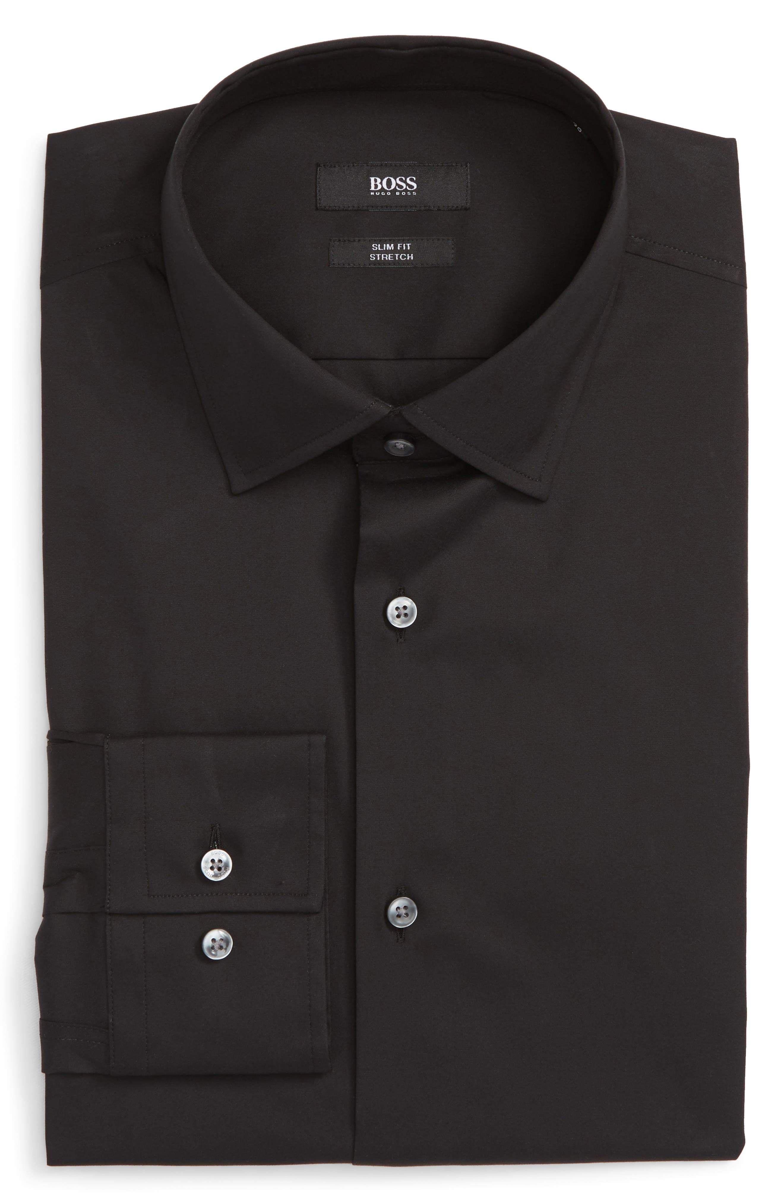 Jenno Slim Fit Stretch Solid Dress Shirt,                             Alternate thumbnail 5, color,                             BLACK