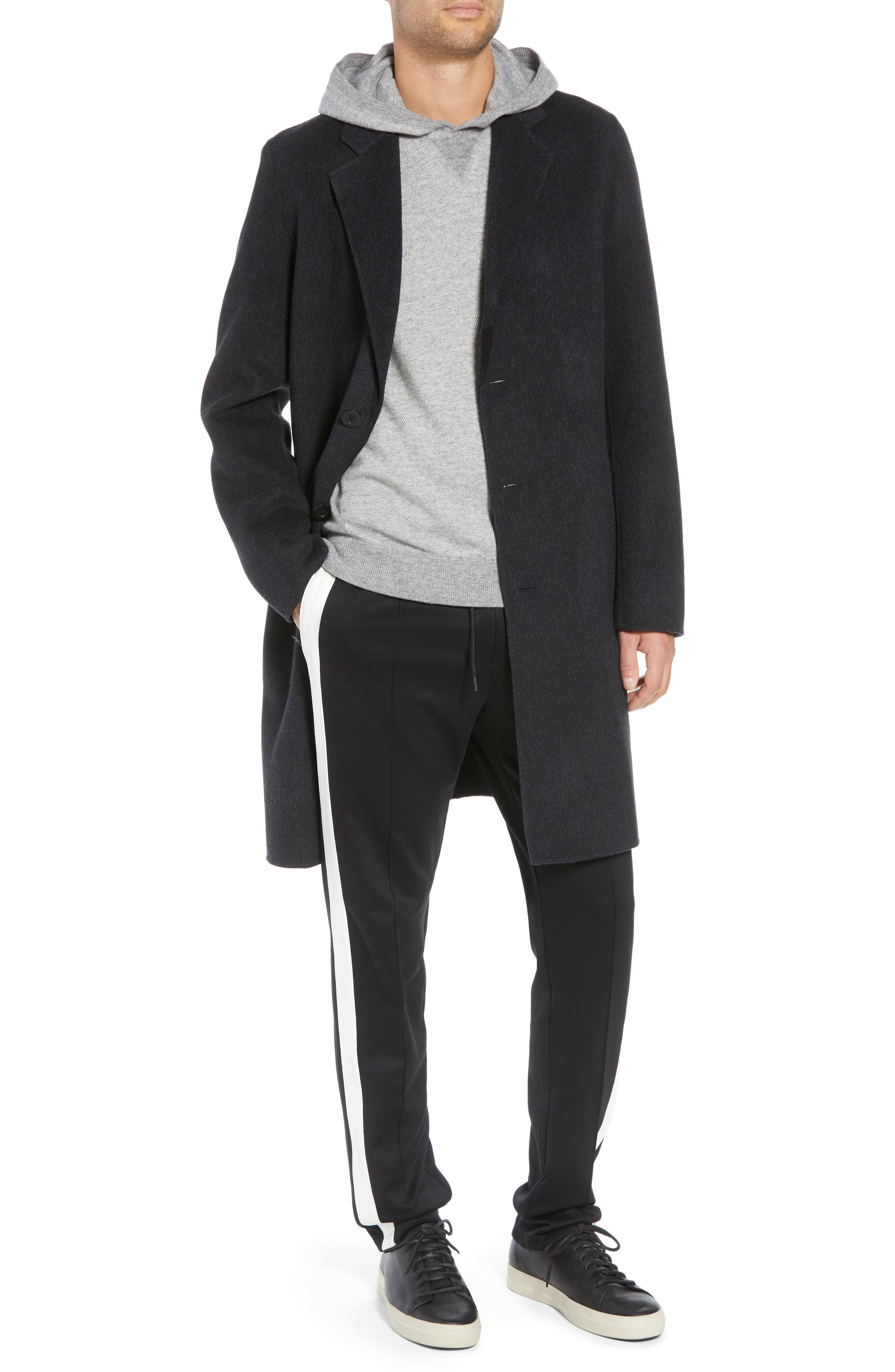 Wool Blend Car Coat,                         Main,                         color, BLACK/ H CHARCOAL