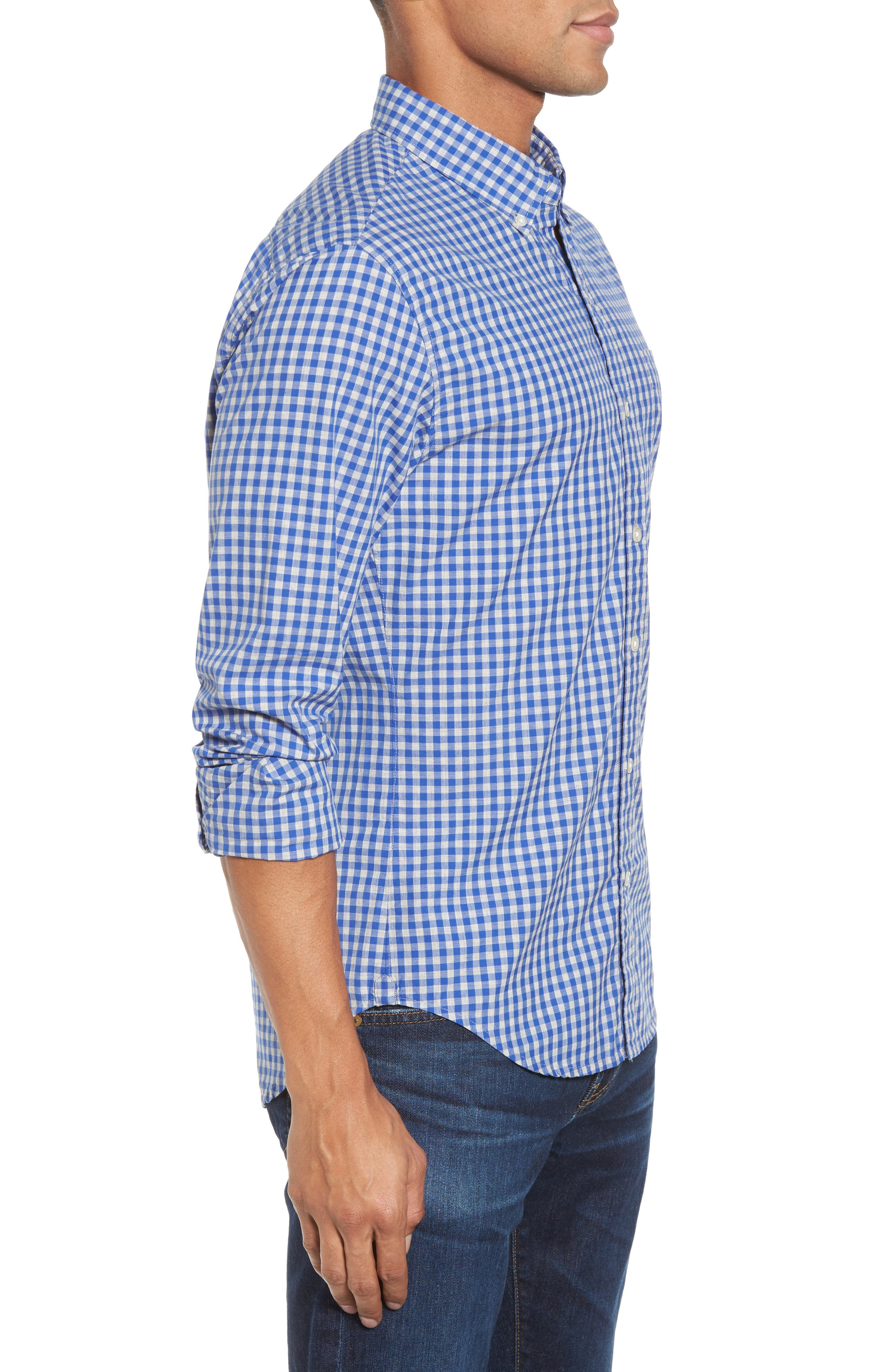 Slim Fit Washed Check Sport Shirt,                             Alternate thumbnail 3, color,