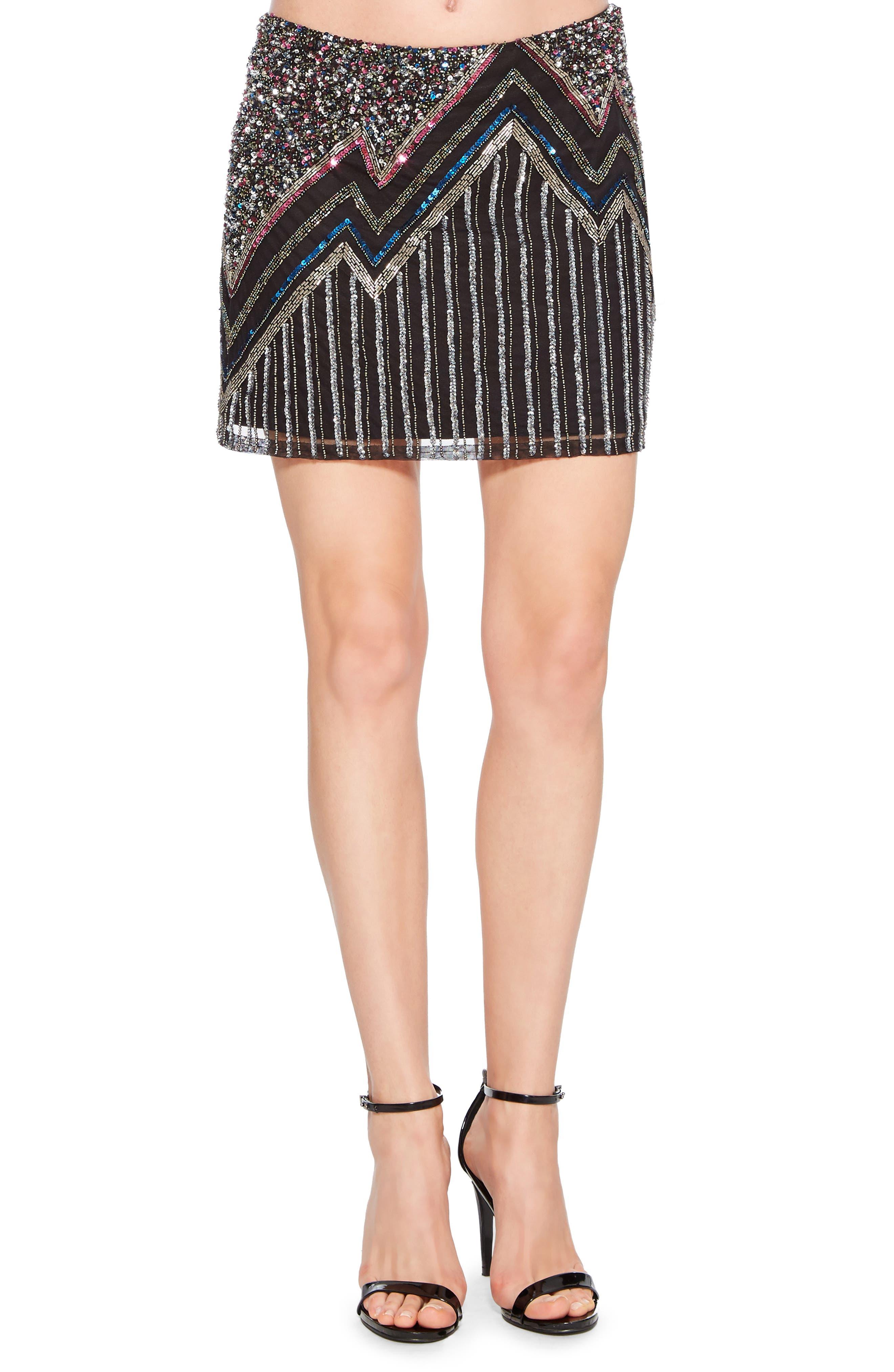 PARKER,                             Corsica Sequin Miniskirt,                             Main thumbnail 1, color,                             015