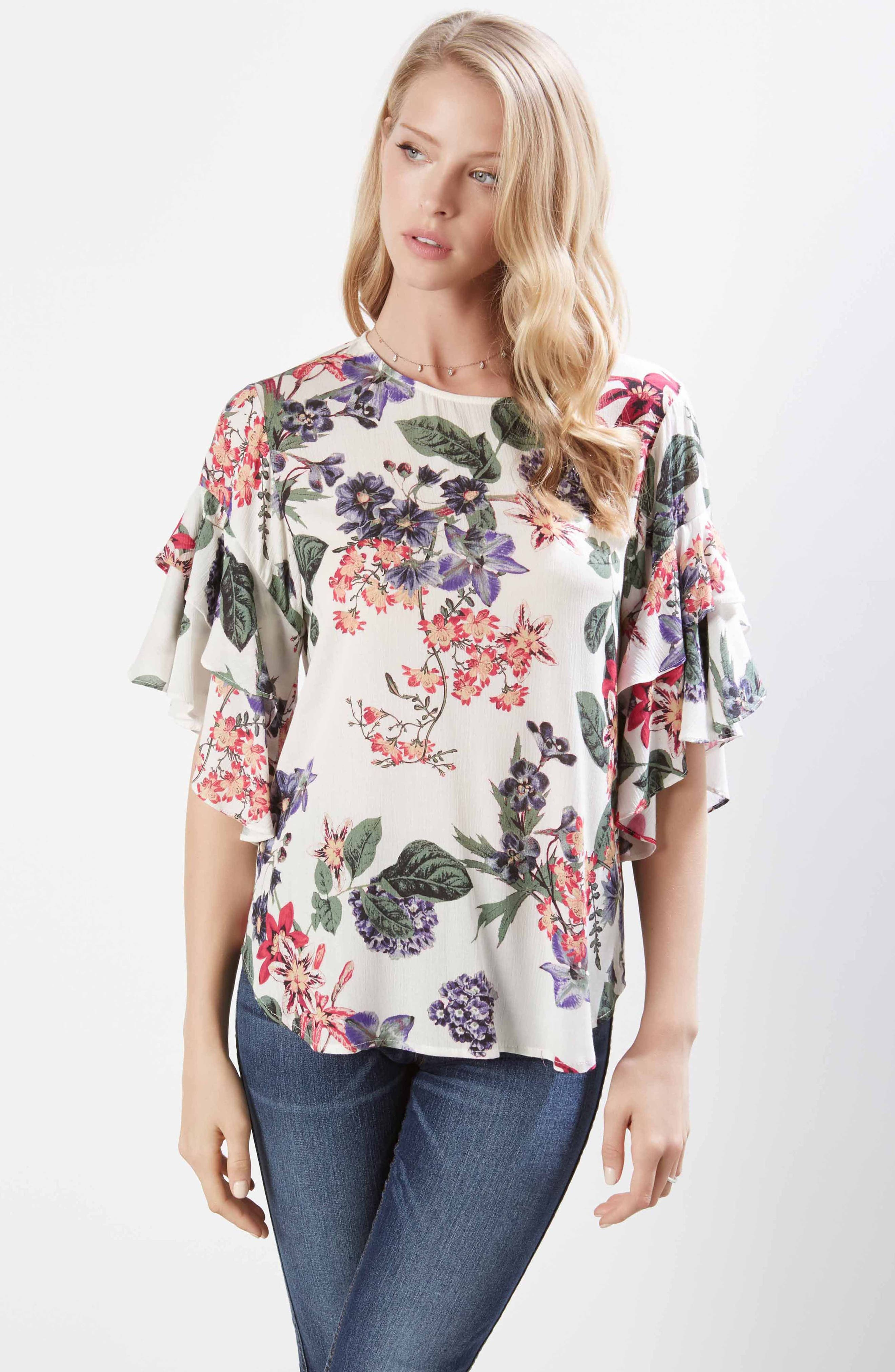 Ruffle Sleeve Floral Top,                             Alternate thumbnail 3, color,                             PRINT