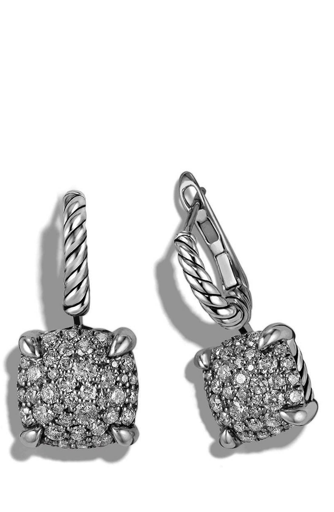'Châtelaine' Drop Earrings with Diamonds,                             Alternate thumbnail 3, color,                             SILVER