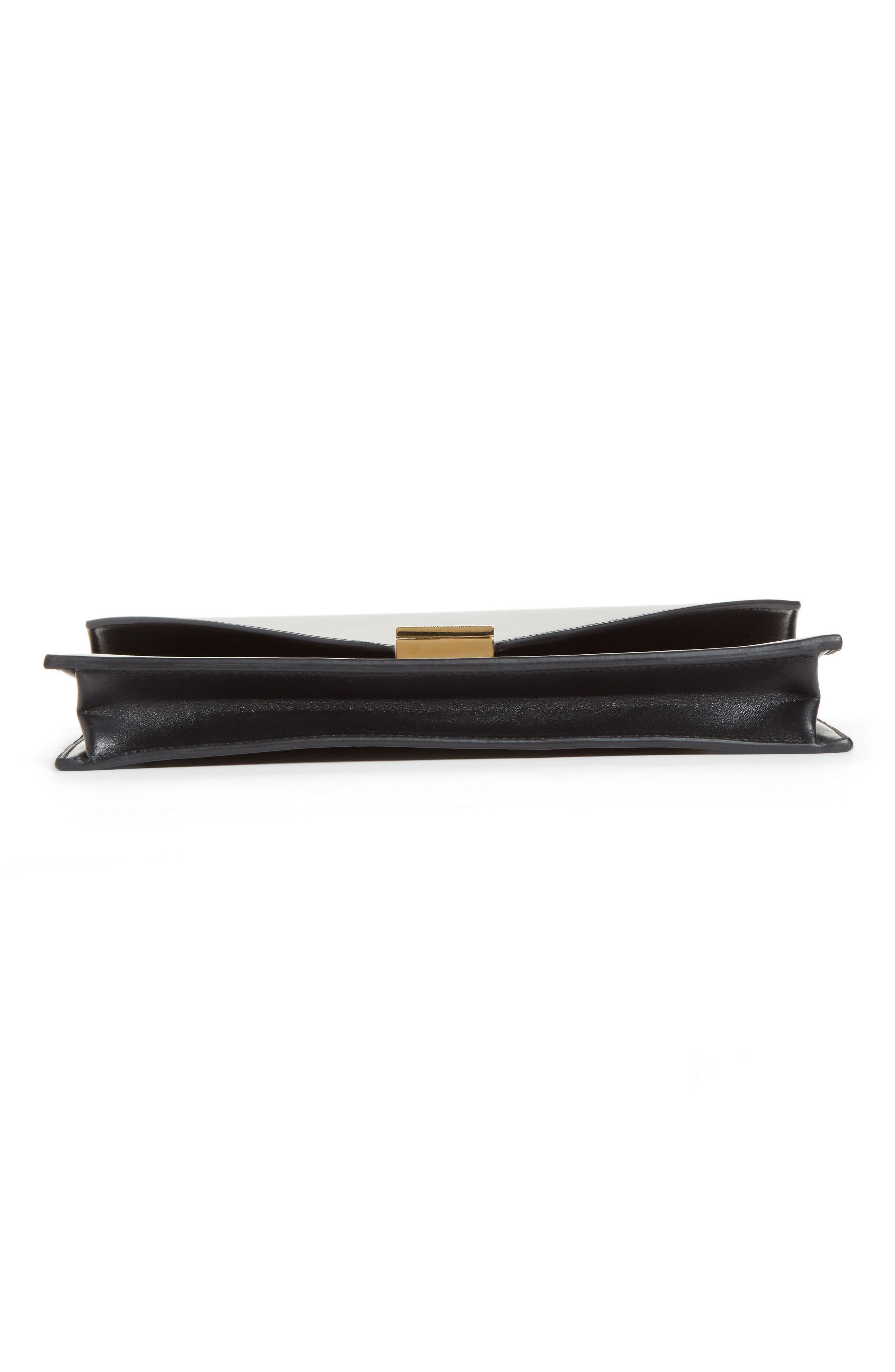 Leather Envelope Clutch,                             Alternate thumbnail 6, color,                             BLACK