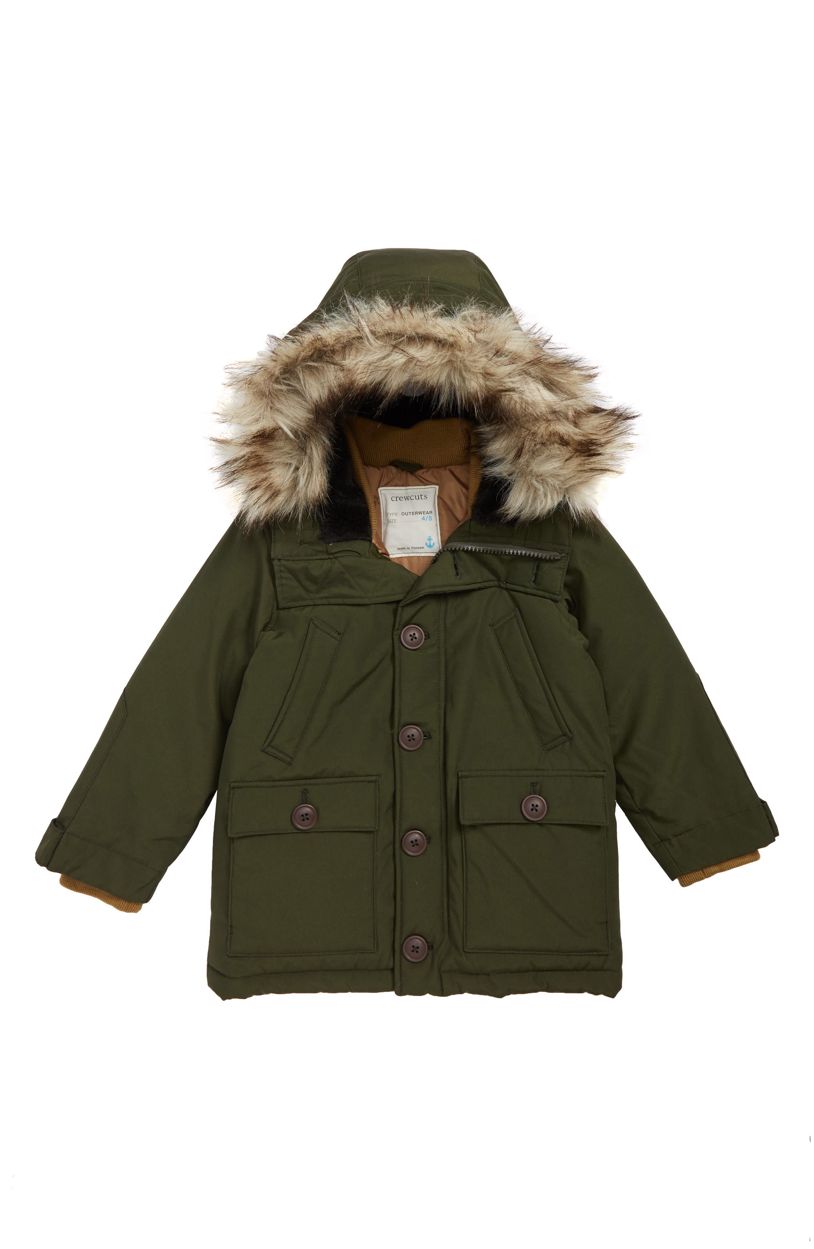 Nordic Primaloft<sup>®</sup> Insulated Parka with Faux Fur Trim,                             Main thumbnail 1, color,                             DARK MOSS