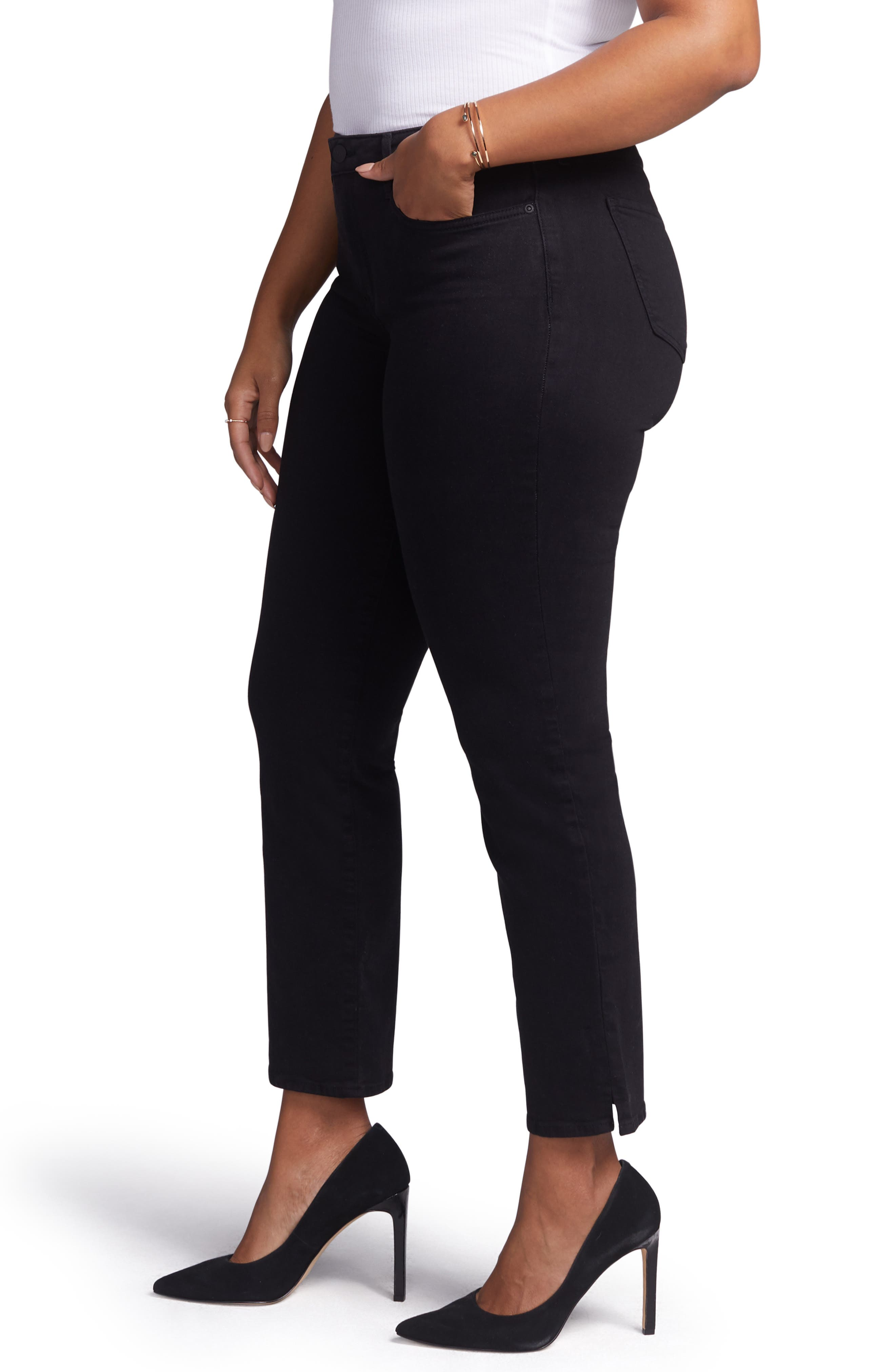 CURVES 360 BY NYDJ,                             Slim Straight Leg Ankle Jeans,                             Alternate thumbnail 3, color,                             BLACK