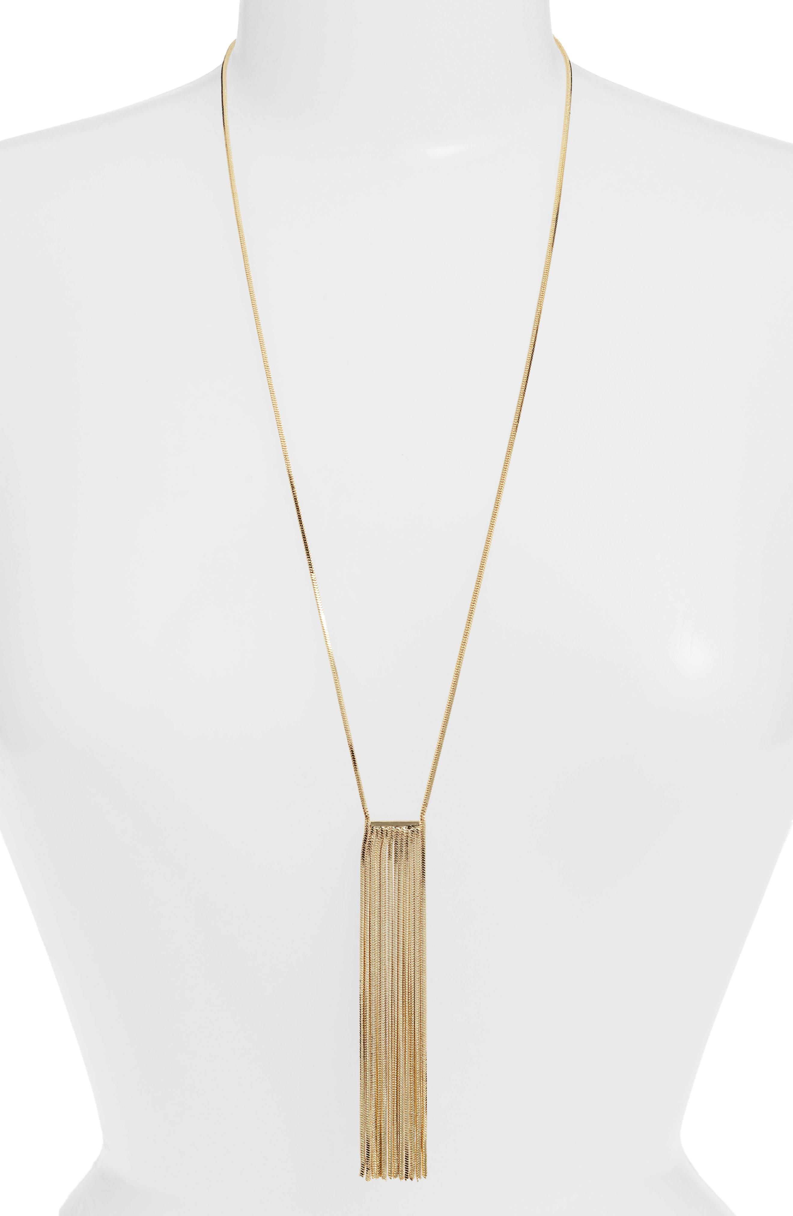 MELINDA MARIA Fringe Necklace in Gold