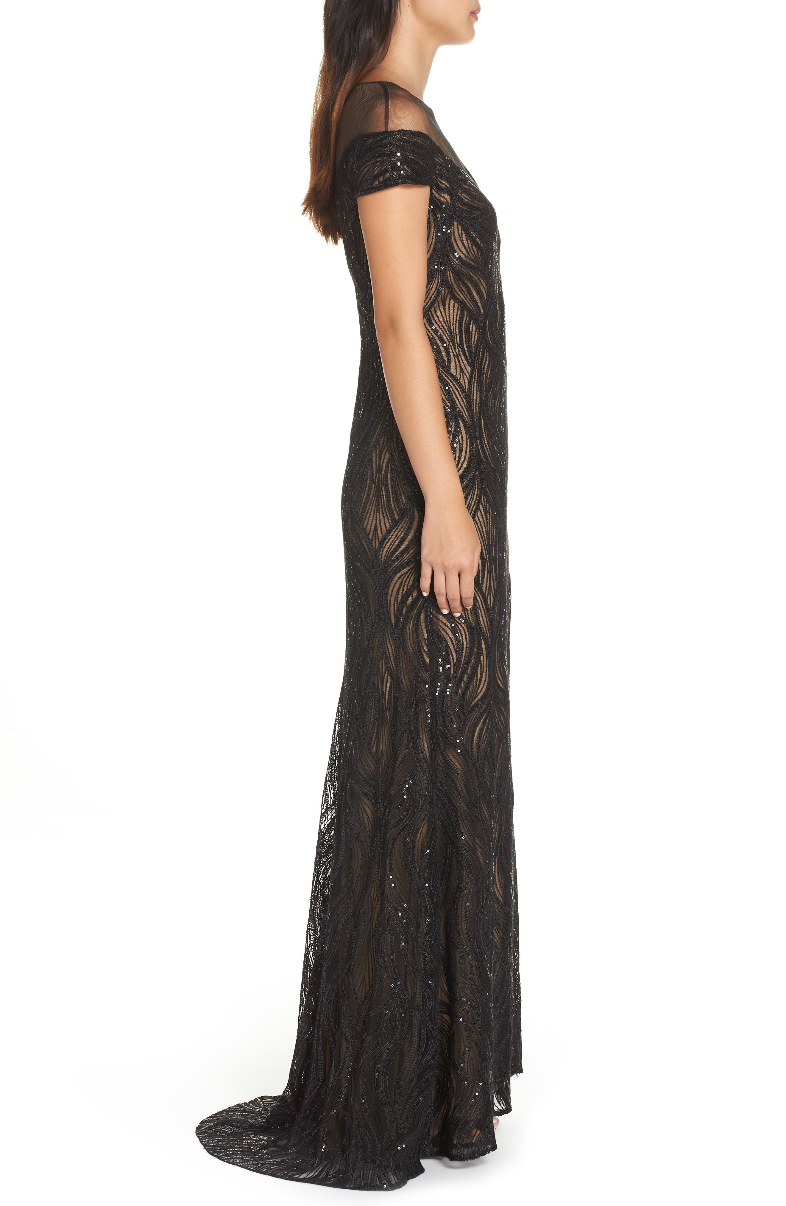 Lucilia Illusion Sequin Gown,                             Alternate thumbnail 3, color,                             BLACK/ NUDE