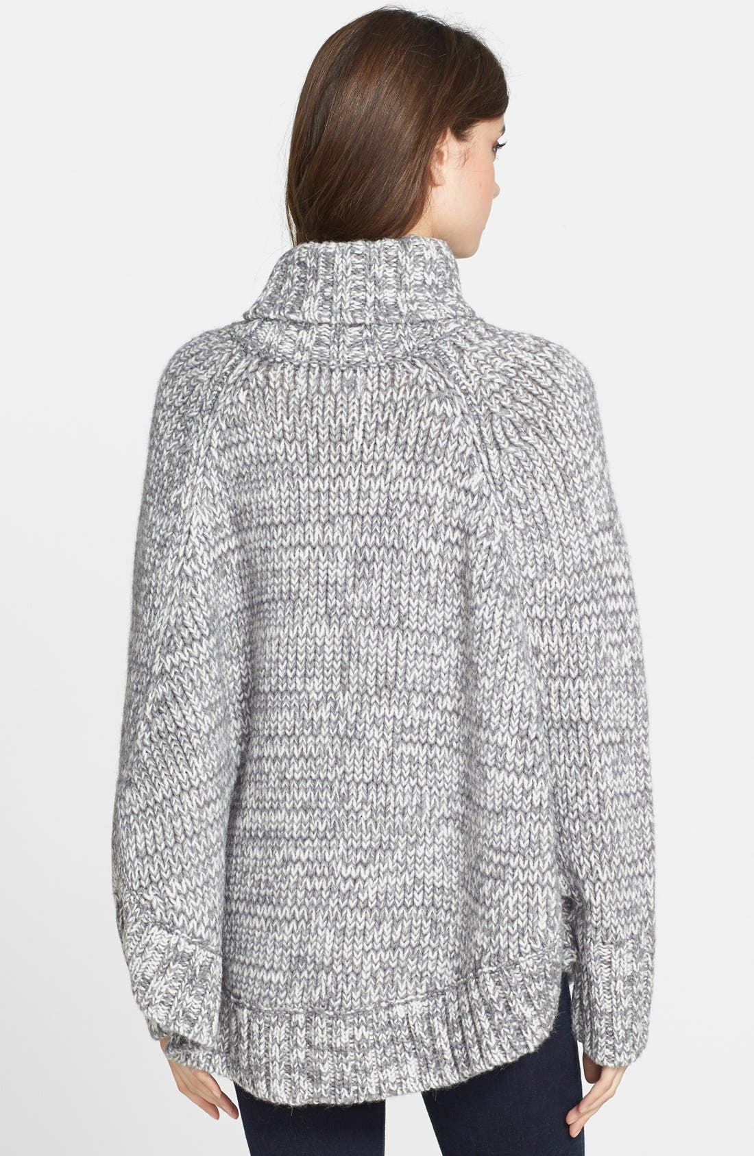 Turtleneck Poncho Sweater,                             Alternate thumbnail 5, color,